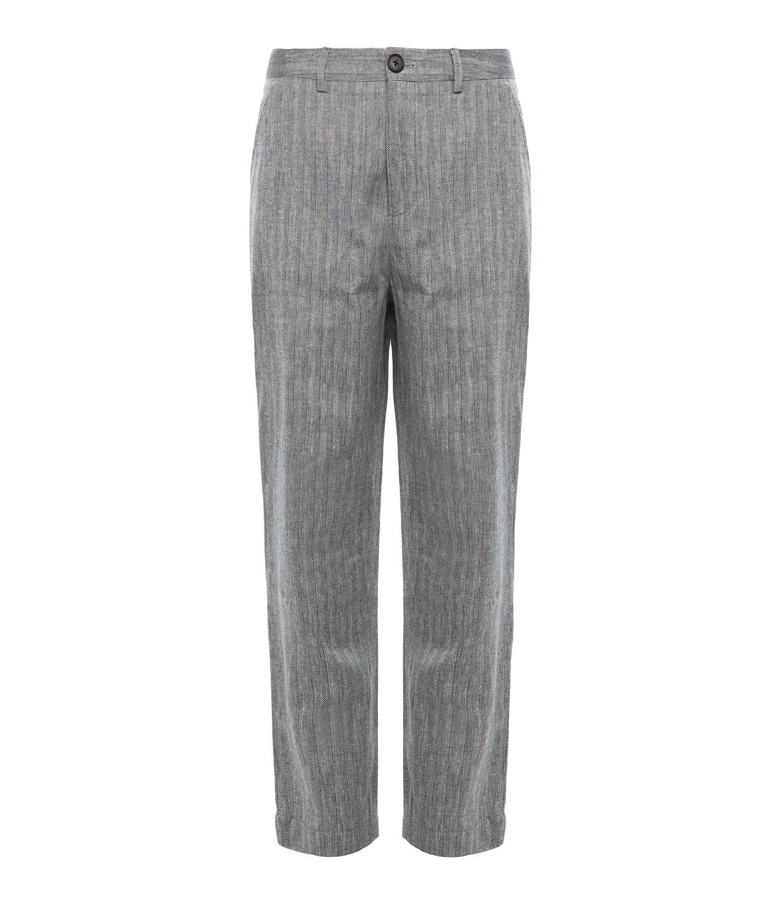 MAGALI PASCAL - Pantalon Axel Lin Coton Imprimé Chevrons Gris
