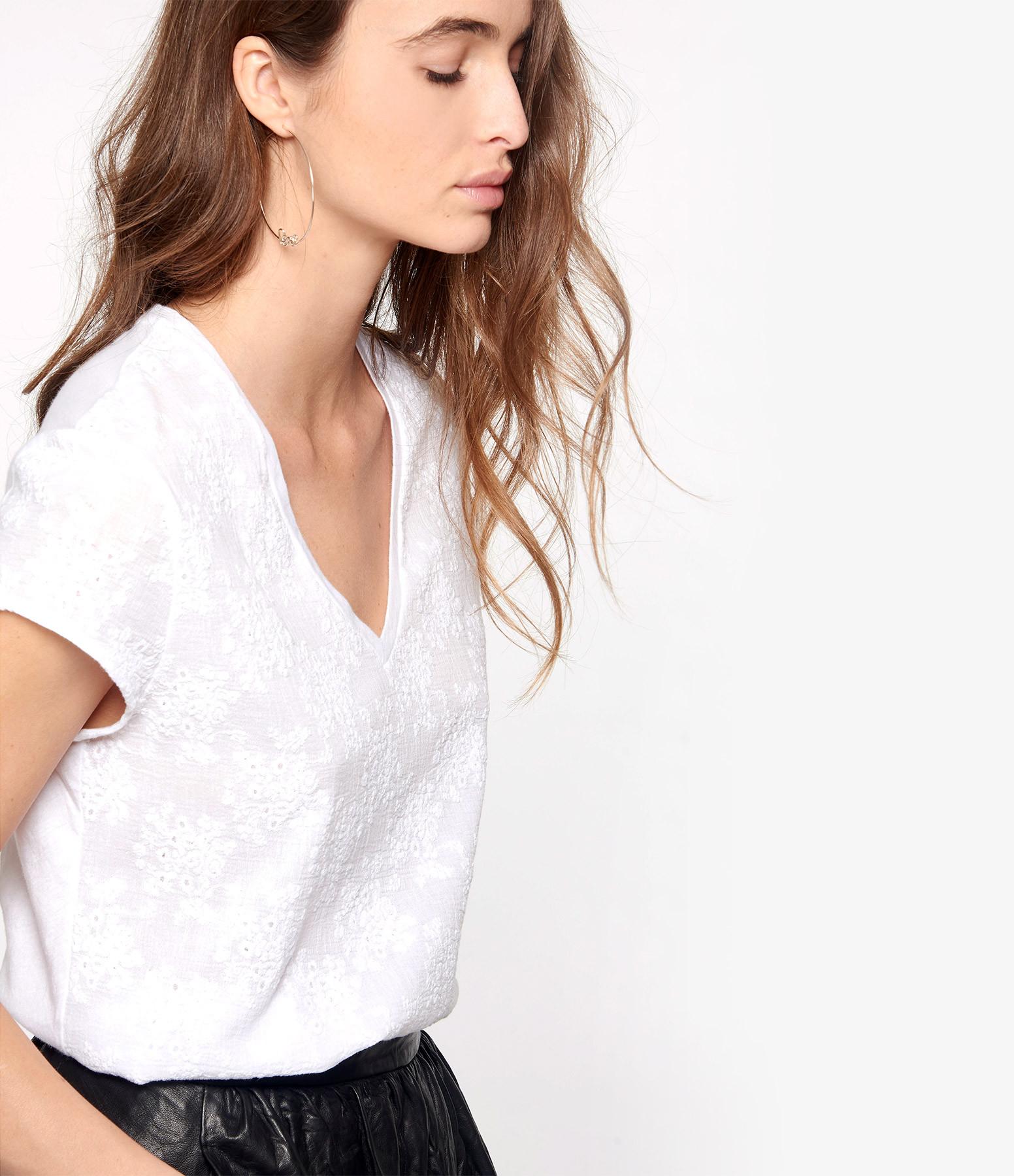 MAJESTIC FILATURES - Tee-shirt Col V Coton Blanc