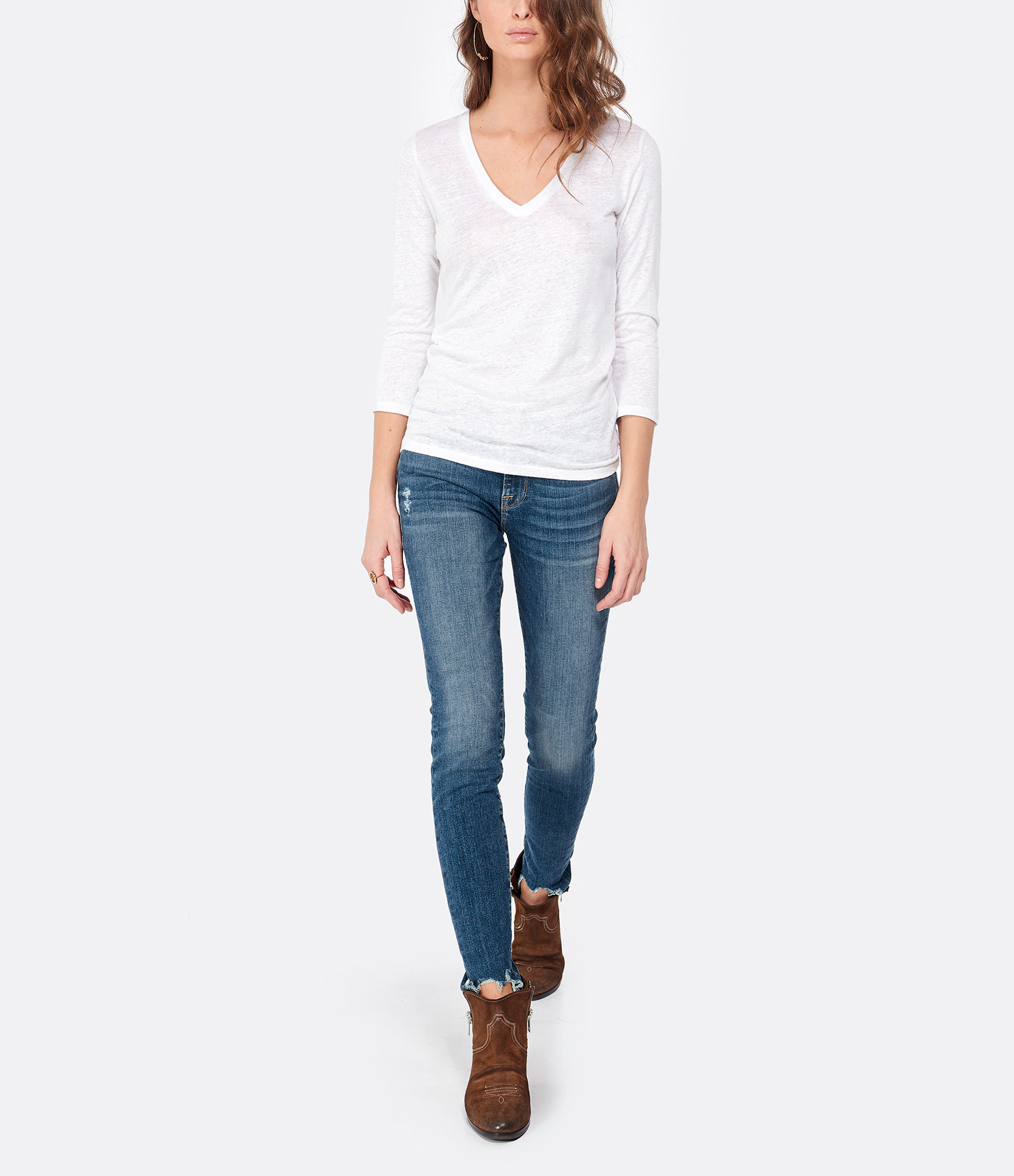 MAJESTIC FILATURES - Tee-shirt Col V 3/4 Lin Blanc