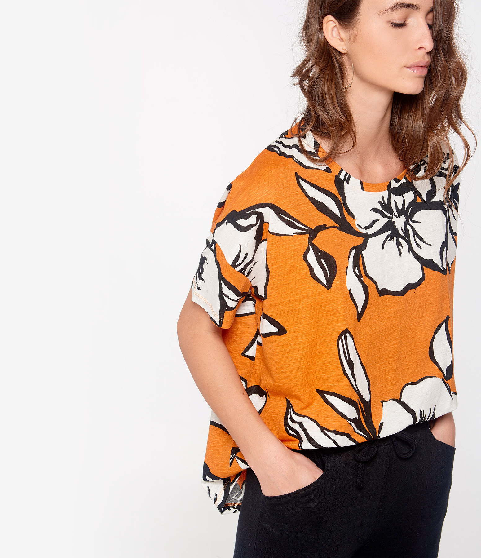 MAJESTIC FILATURES - Tee-shirt Col Rond Lin Orange Epicé
