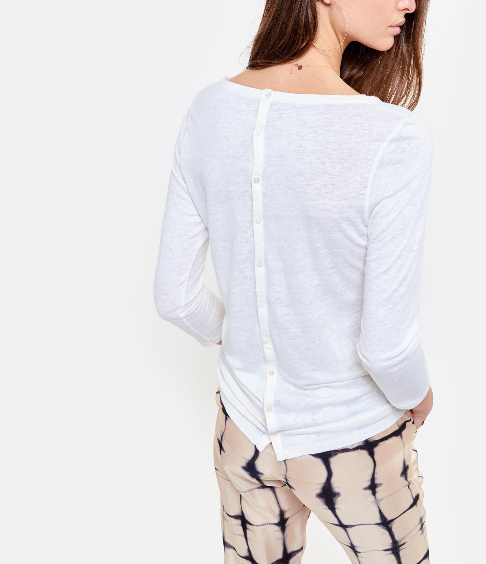 MAJESTIC FILATURES - Tee-shirt Manches 3/4 Lin Blanc