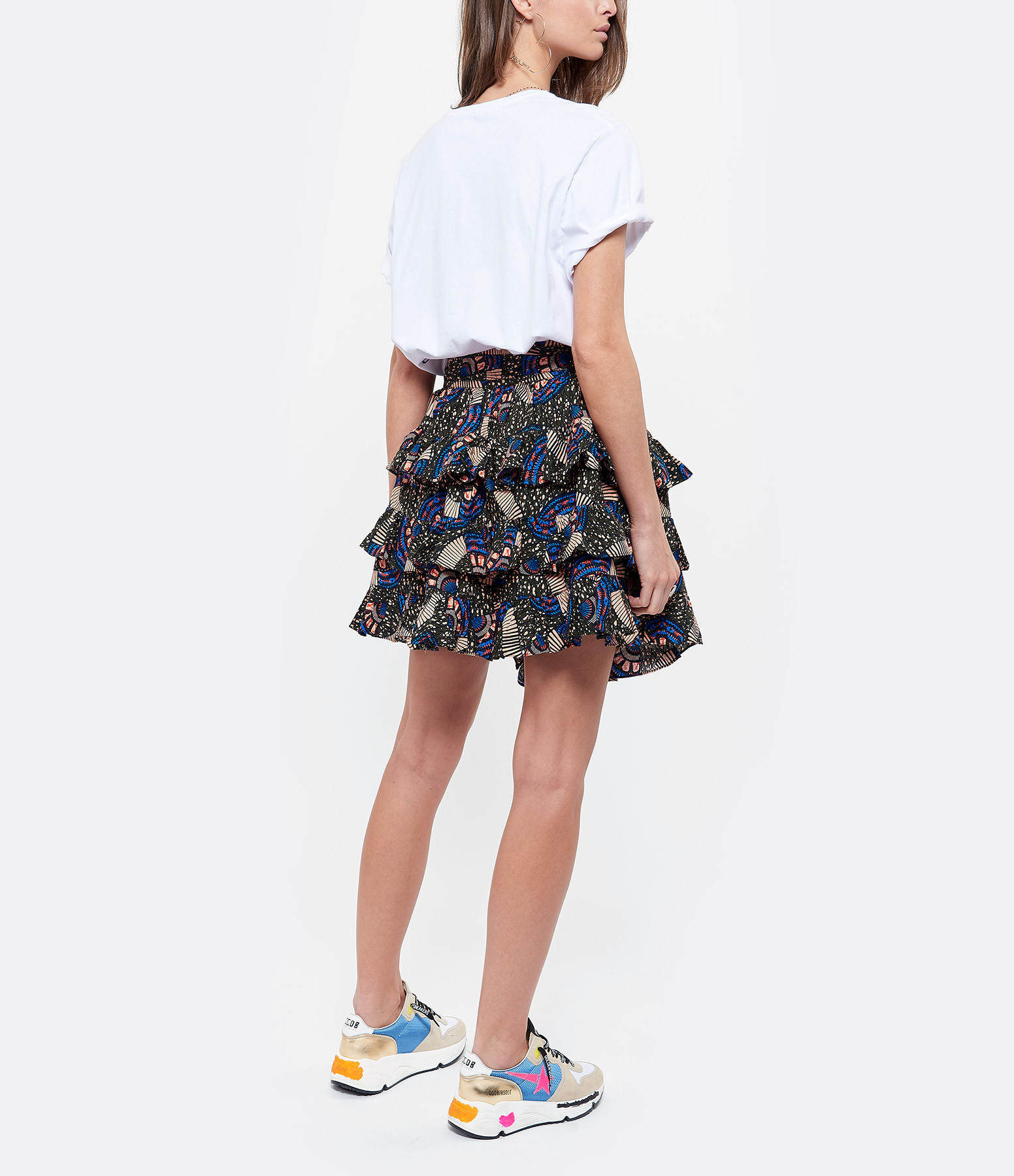 MAJESTIC FILATURES - Tee-shirt Blanc Métal Bleu, Cindy Bruna