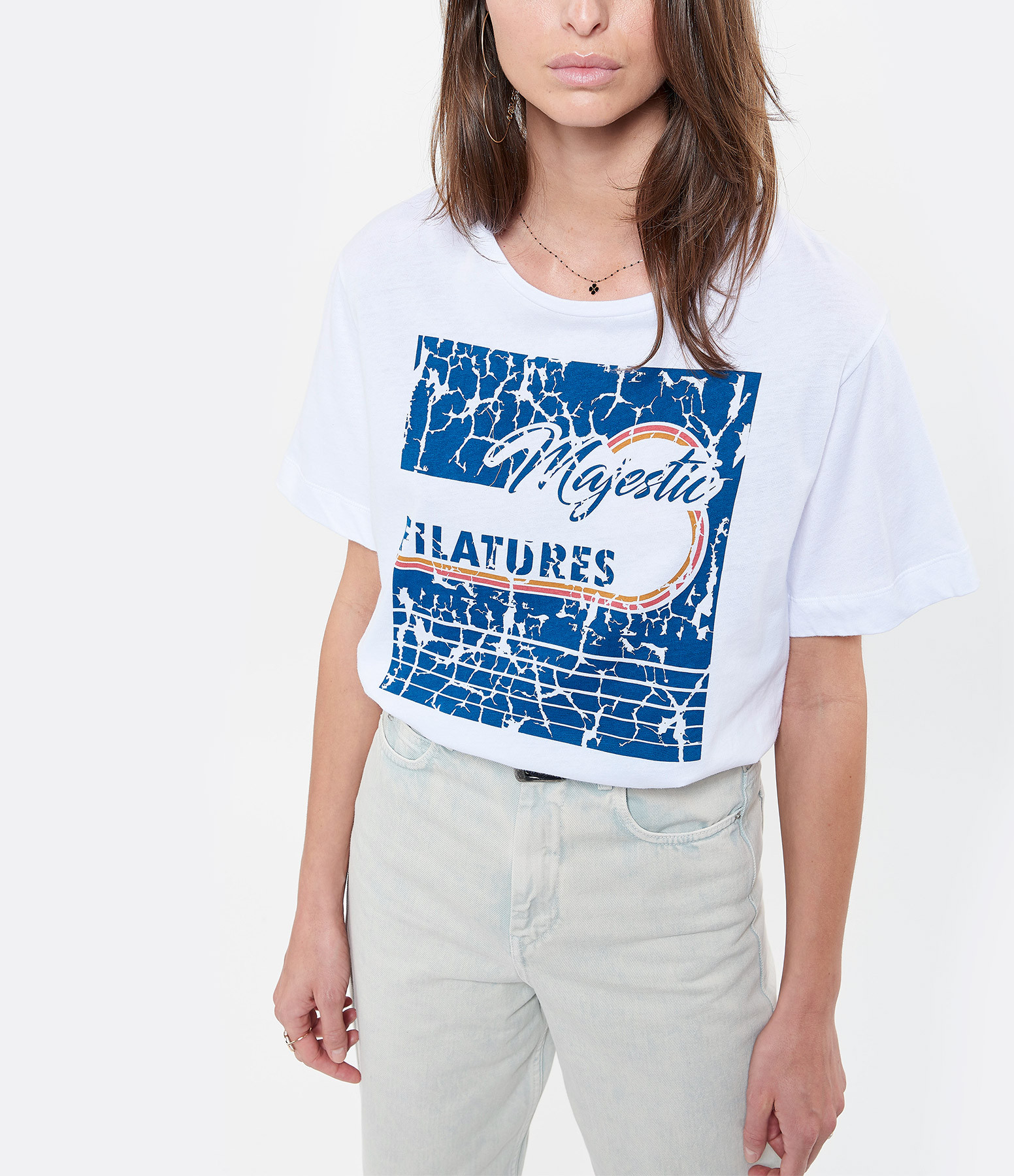 MAJESTIC FILATURES - Tee-shirt Coton Blanc, Collection Cindy Bruna