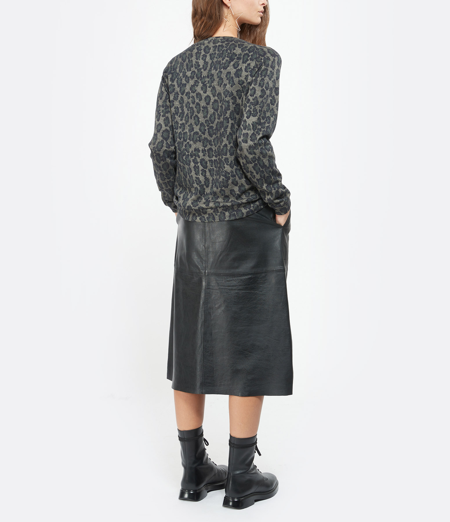 MAJESTIC FILATURES - Pull Coton Soie Imprimé Kaki