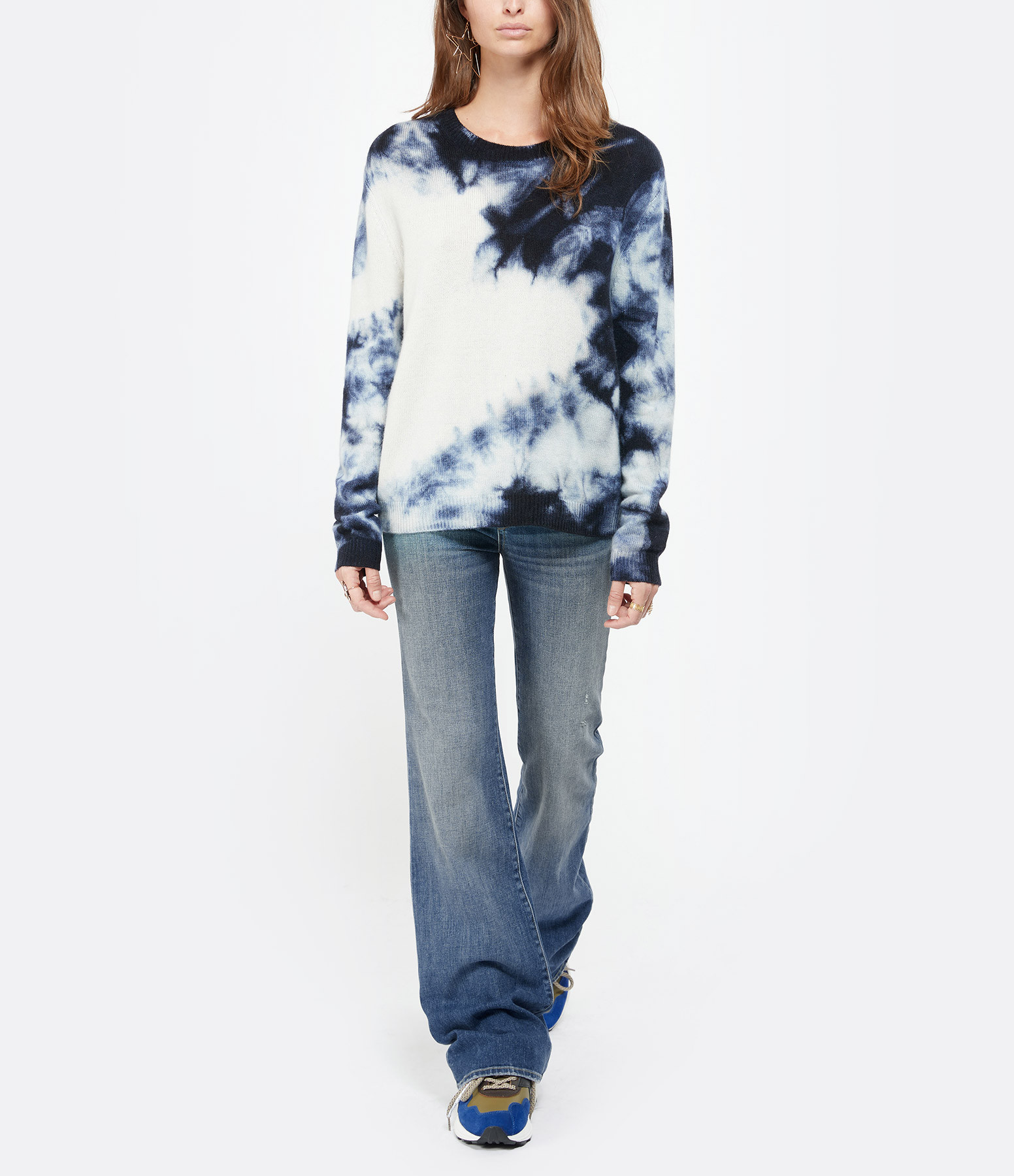MAJESTIC FILATURES - Pull Col Rond Laine Cachemire Bleu Tie and Dye