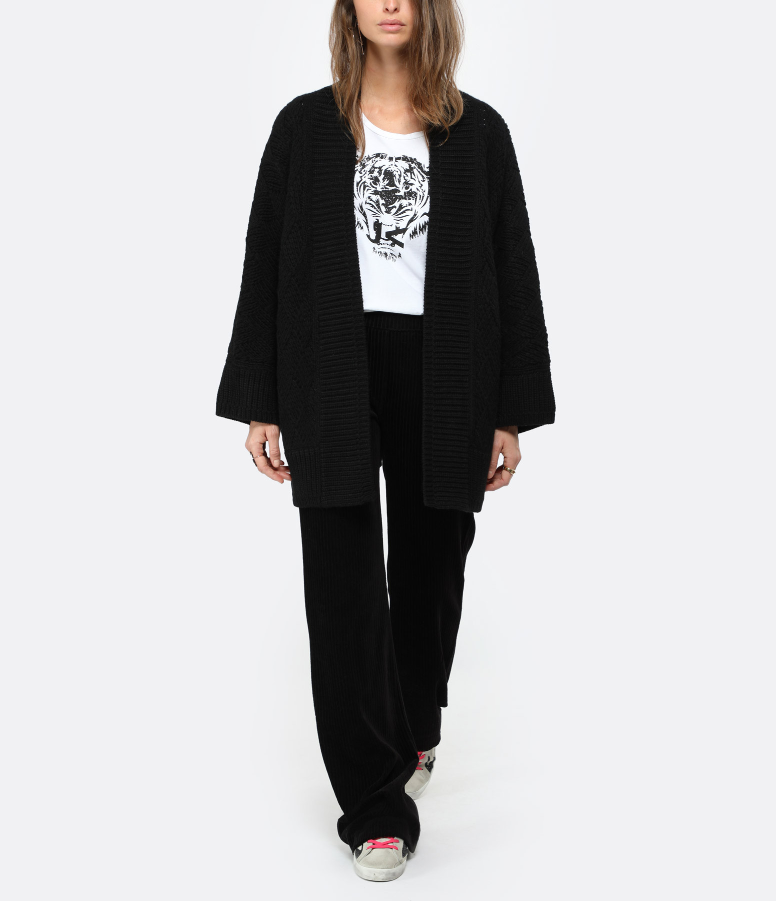 MAJESTIC FILATURES - Pantalon Large Coton Noir