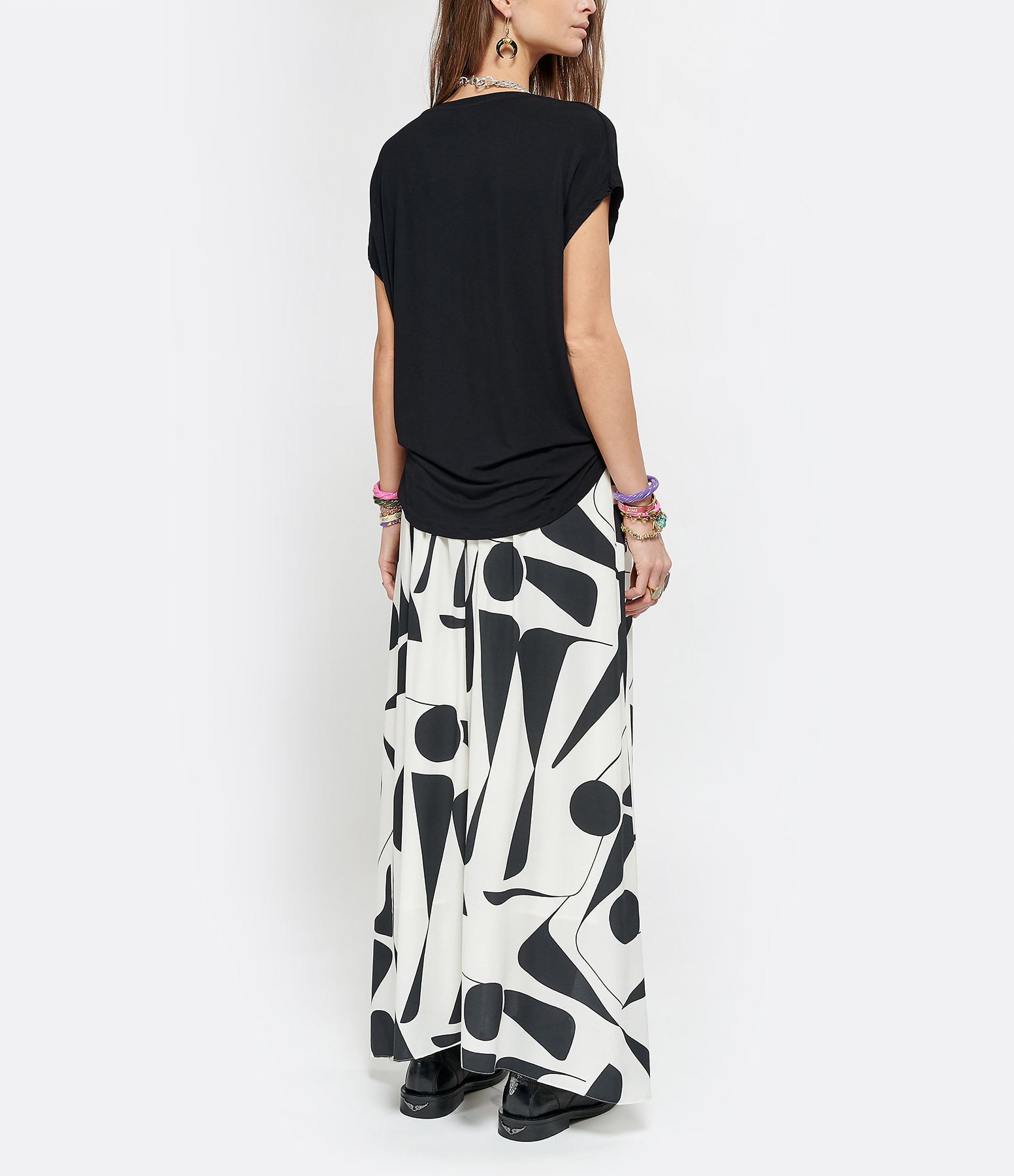 MAJESTIC FILATURES - Tee-shirt Col V Noir