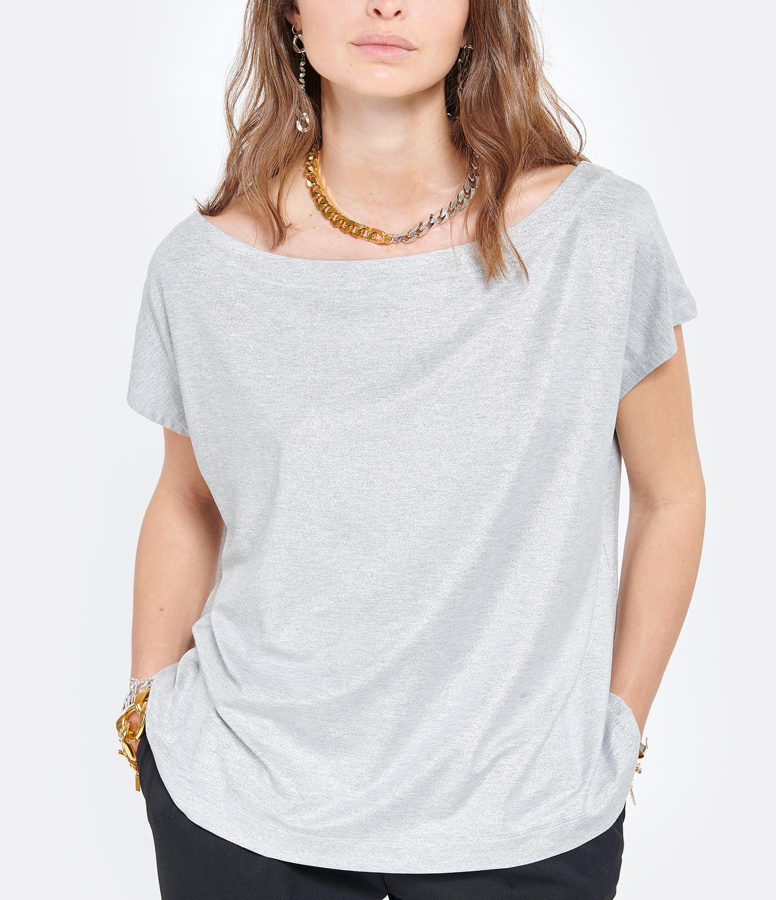 MAJESTIC FILATURES - Tee-shirt Col Bateau Gris Métallisé