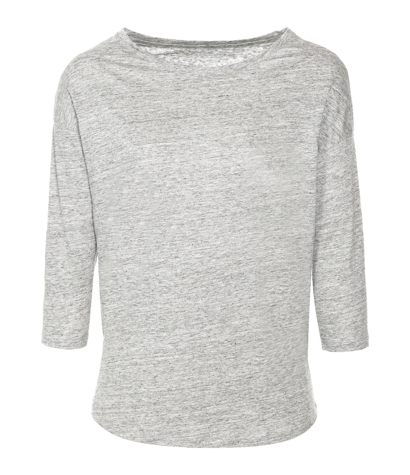 MAJESTIC FILATURES - Tee-shirt Col Bateau 3/4 Lin Granite