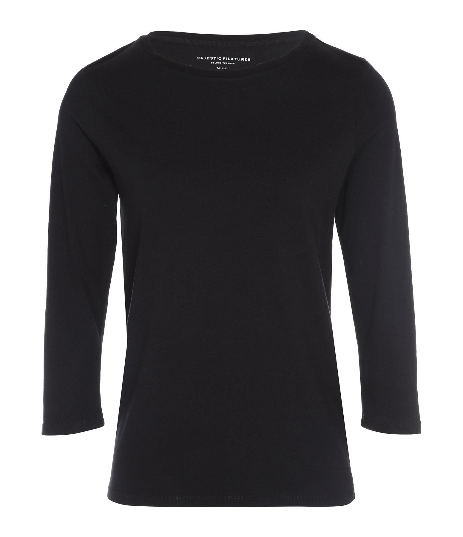 MAJESTIC FILATURES - Tee-shirt Col Bateau Noir