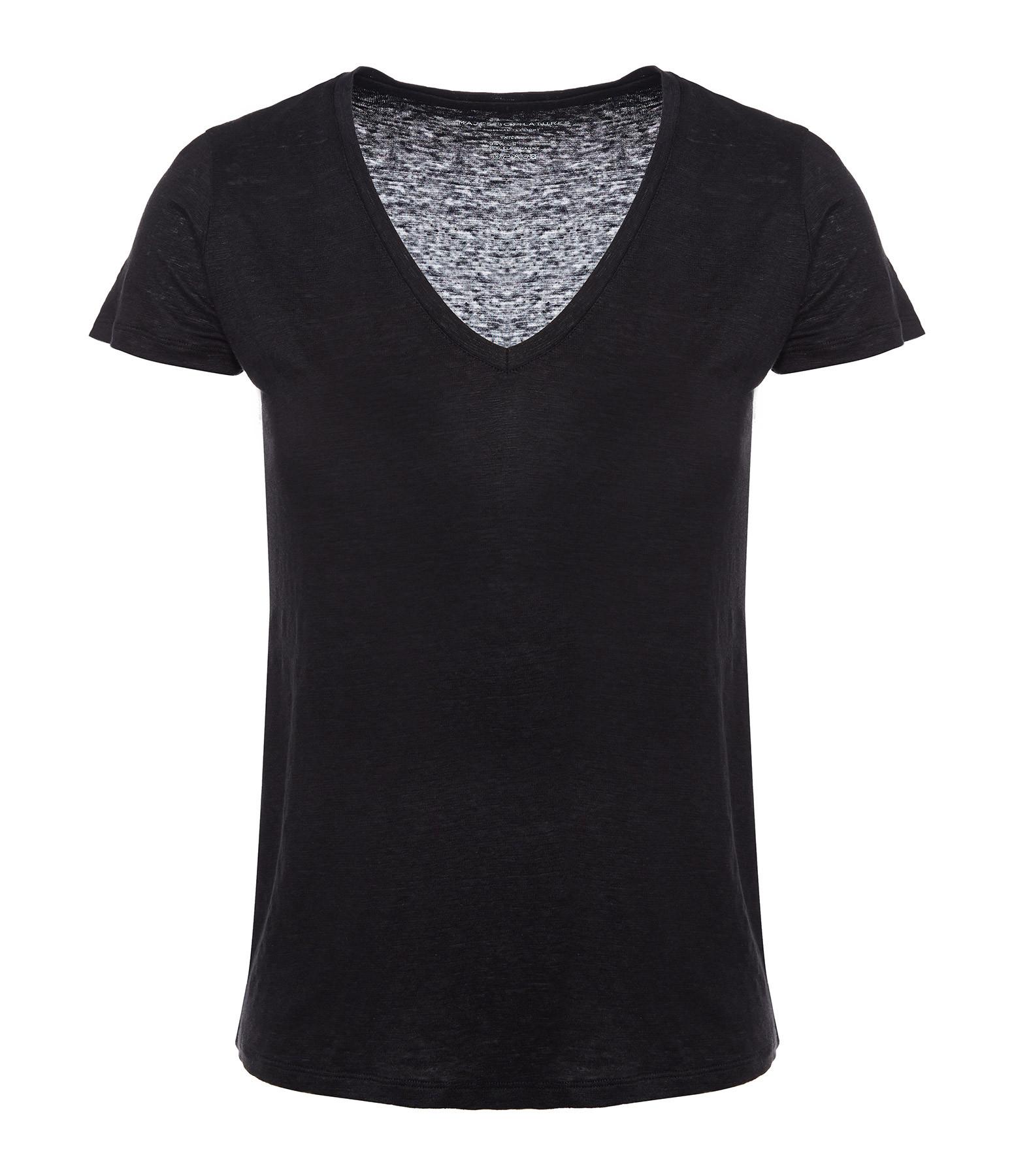MAJESTIC FILATURES - Tee-shirt Lisa Col V Lin Noir