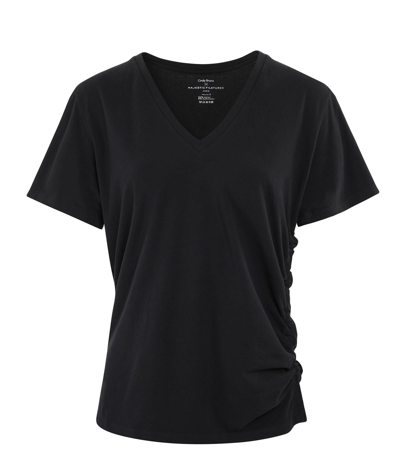 MAJESTIC FILATURES - Tee-shirt Col V Coton Noir, Cindy Bruna