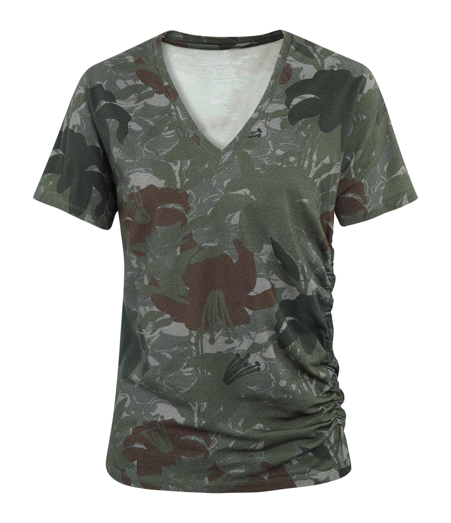 MAJESTIC FILATURES - Tee-shirt Col V Coton Vert Treillis, Cindy Bruna