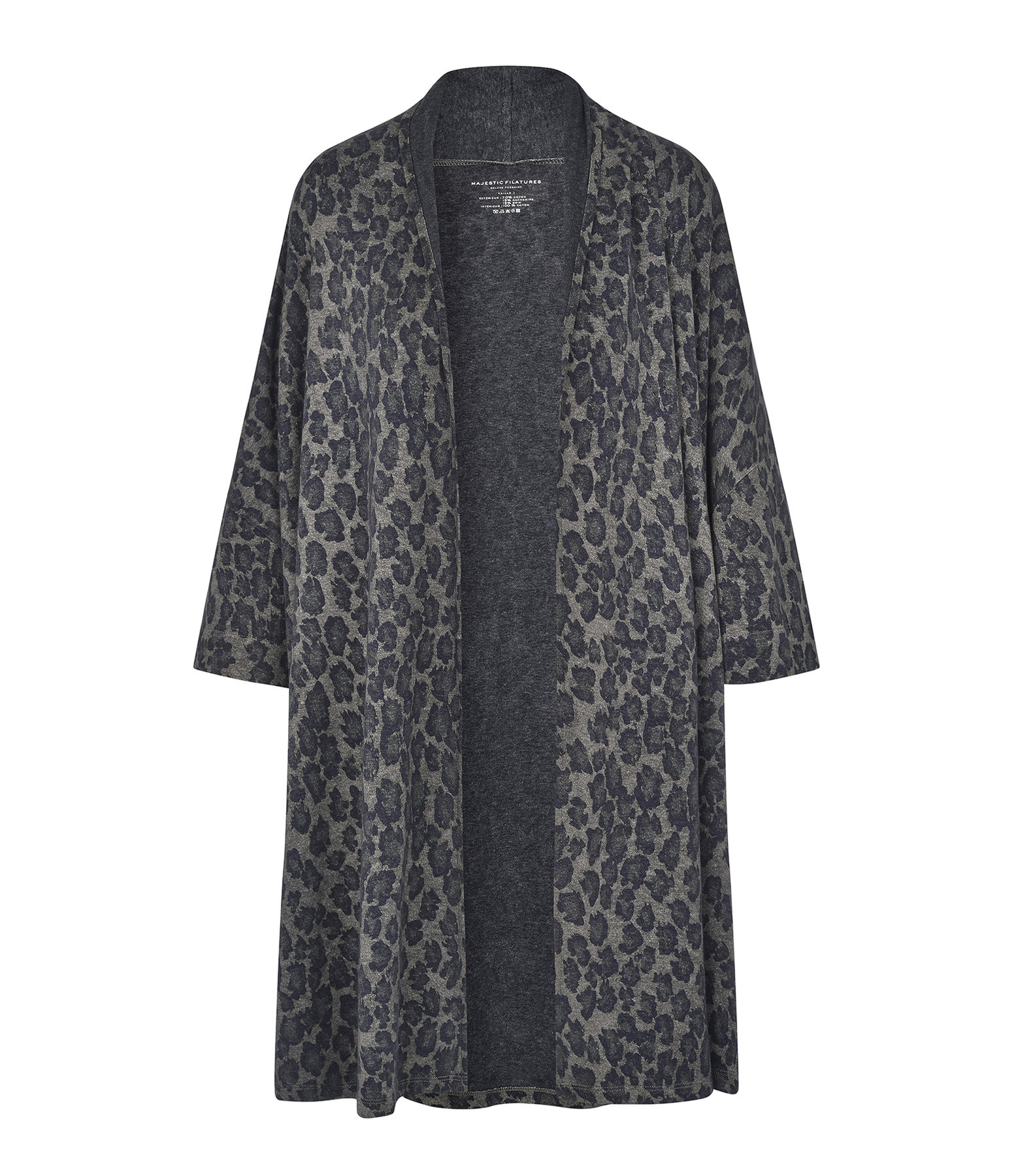 MAJESTIC FILATURES - Kimono Coton Soie Imprimé Kaki