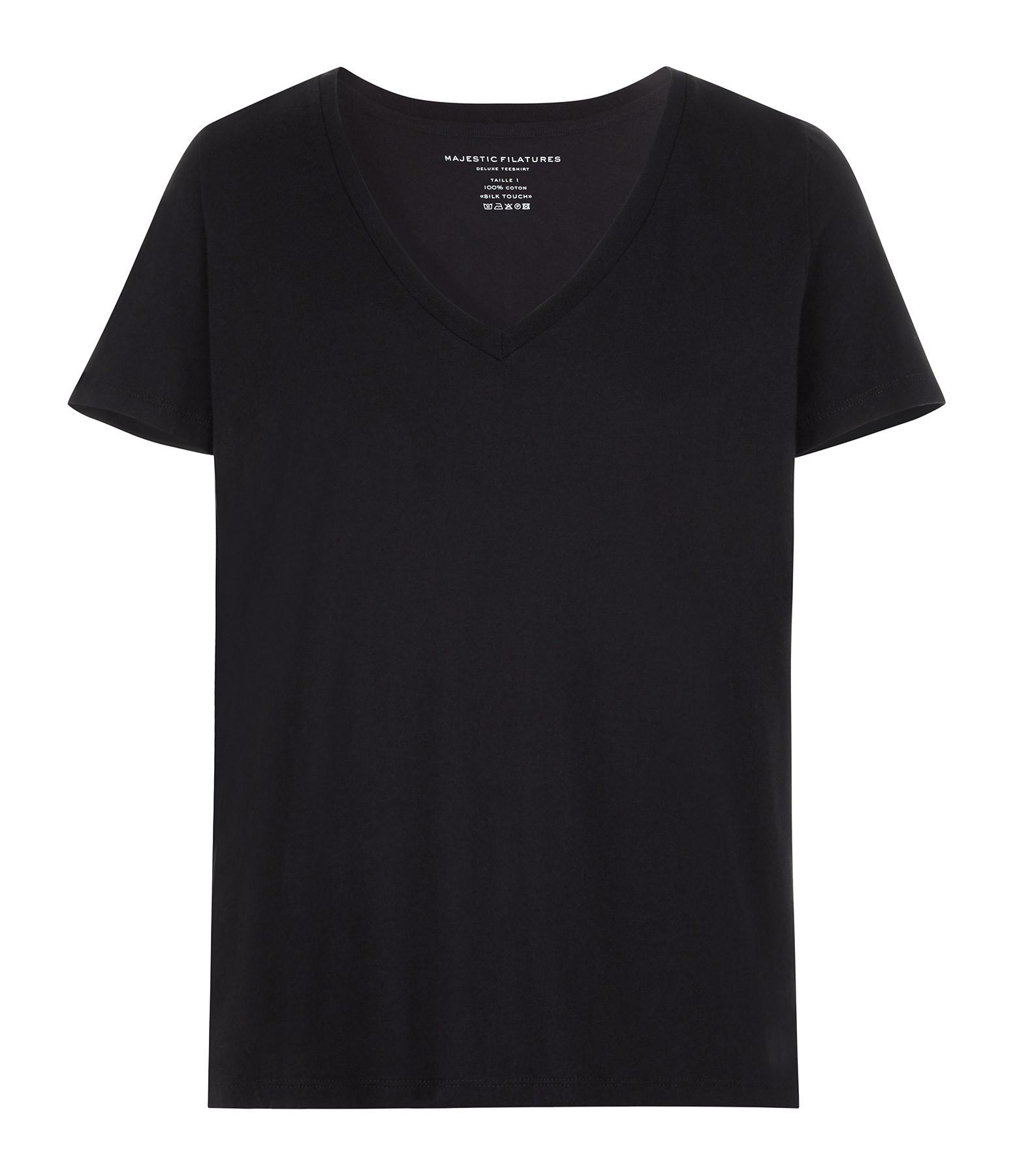 MAJESTIC FILATURES - Tee-shirt Col V Coton Noir