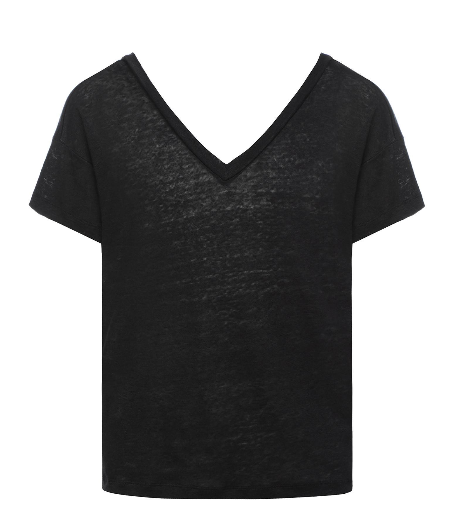 MAJESTIC FILATURES - Tee-shirt  Dos Décolleté Lin Noir
