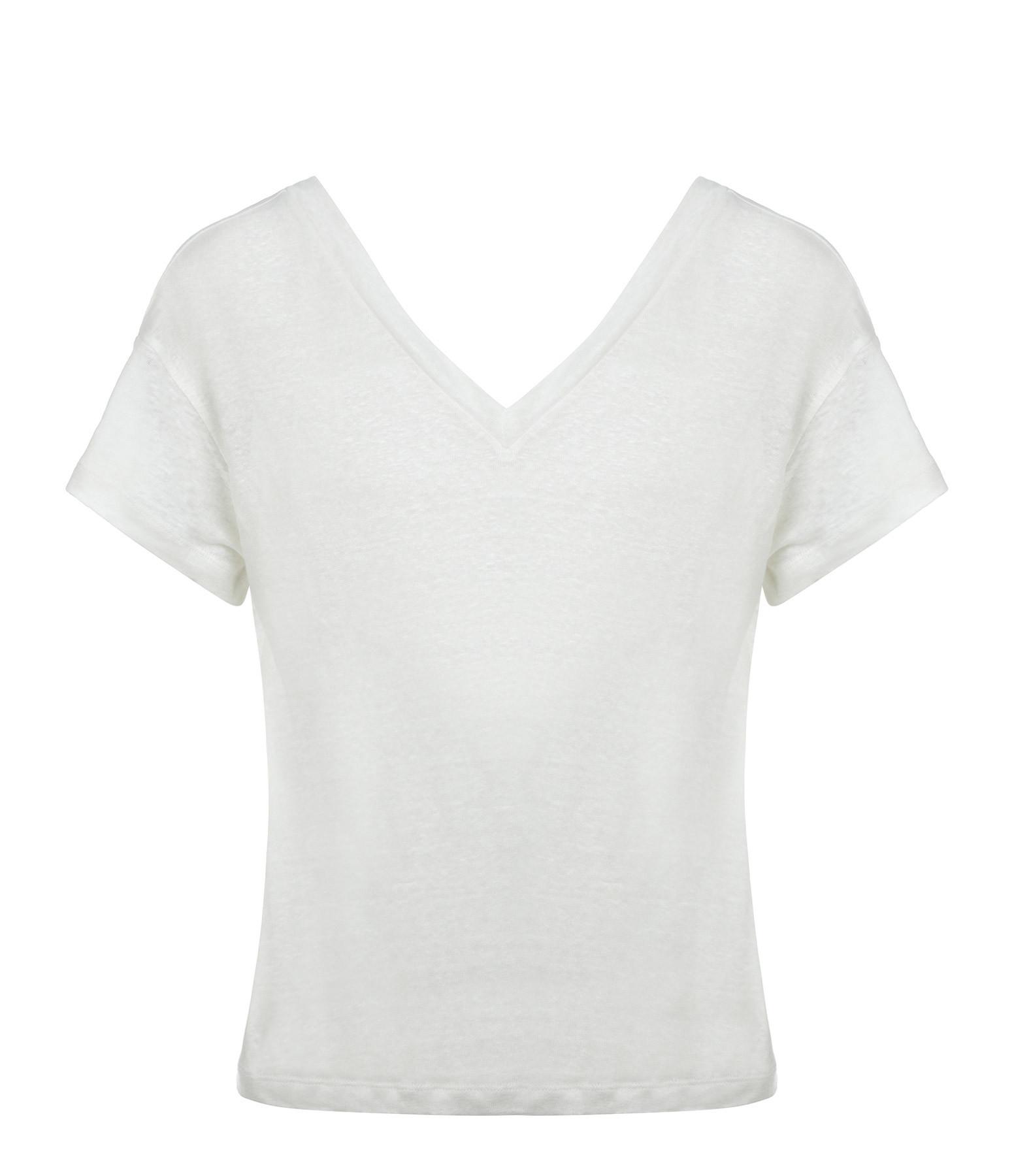 MAJESTIC FILATURES - Tee-shirt  Dos Décolleté Lin Écru