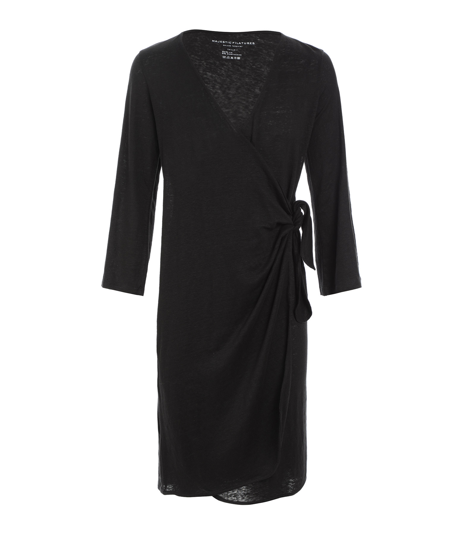 MAJESTIC FILATURES - Robe Portefeuille Lin Noir