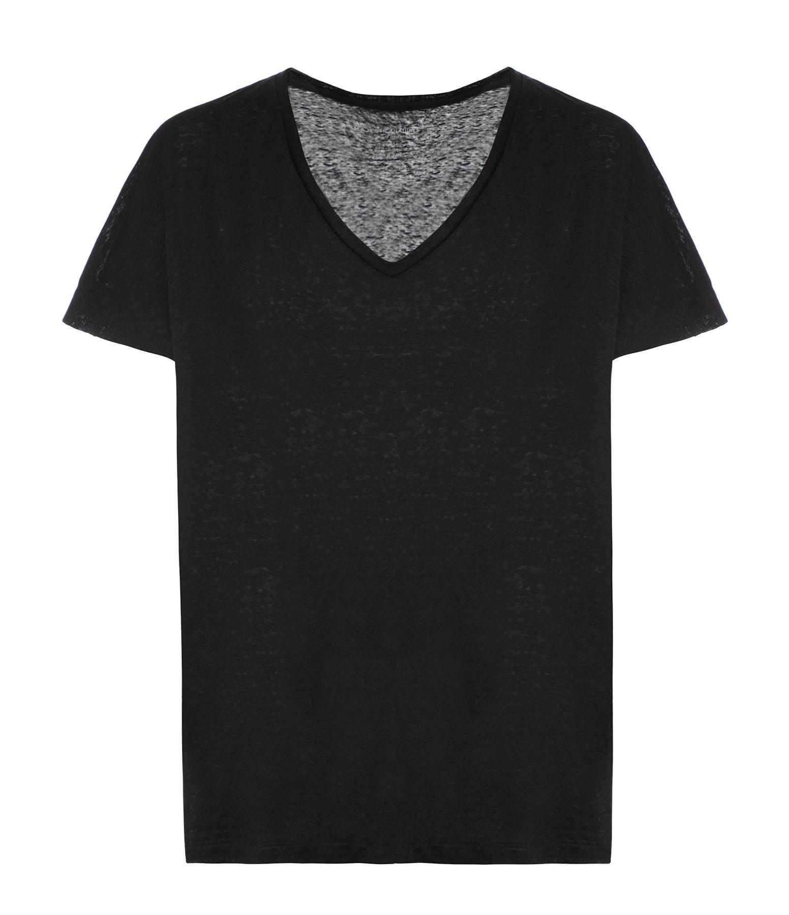 MAJESTIC FILATURES - Tee-shirt Loose Col V Lin Noir