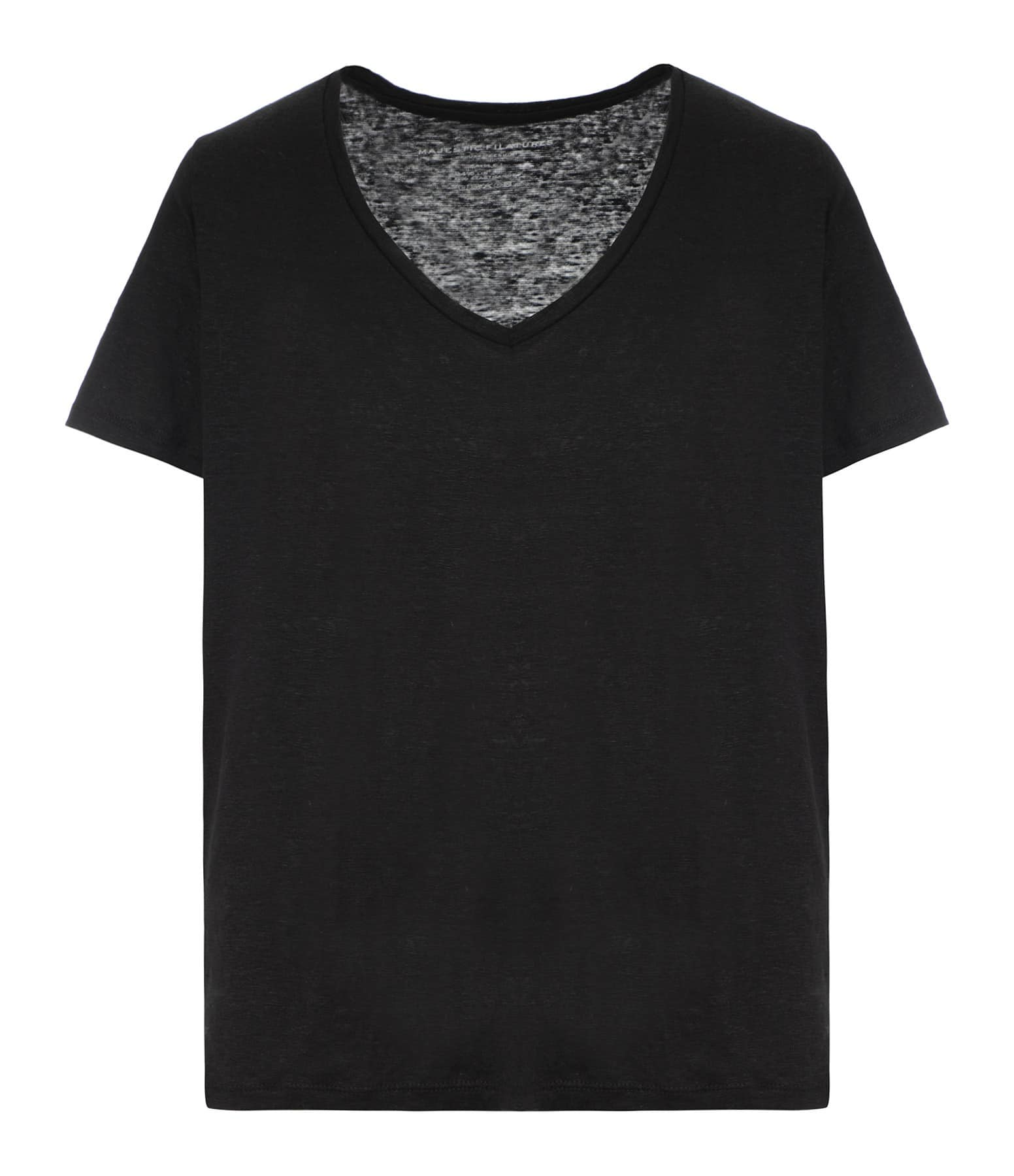 MAJESTIC FILATURES - Tee-shirt Col V Lin Noir