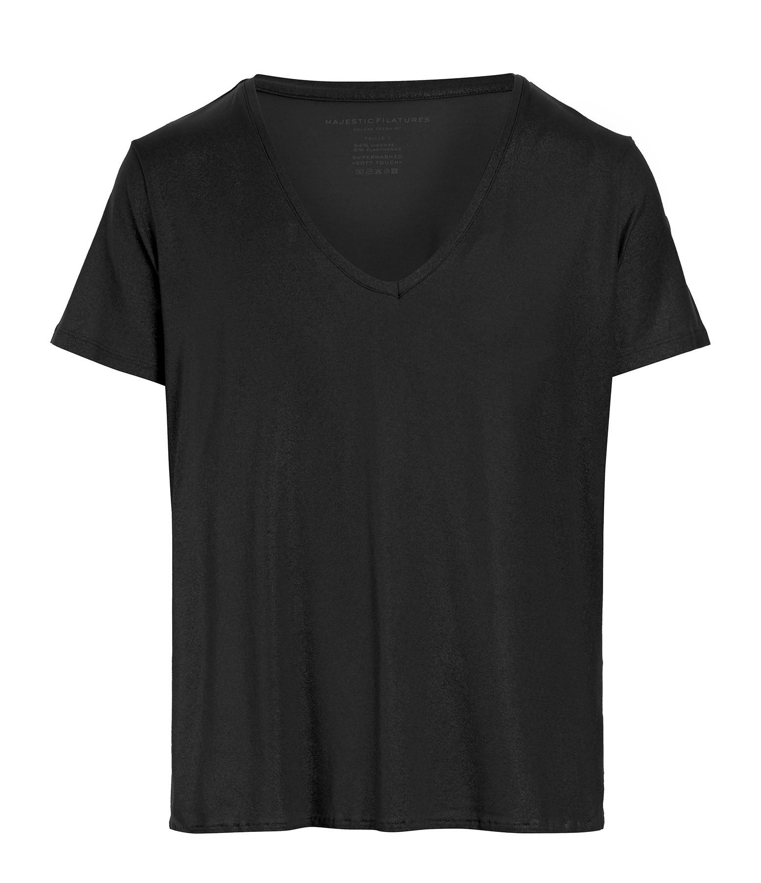MAJESTIC FILATURES - Tee-shirt Col V Noir Métallisé