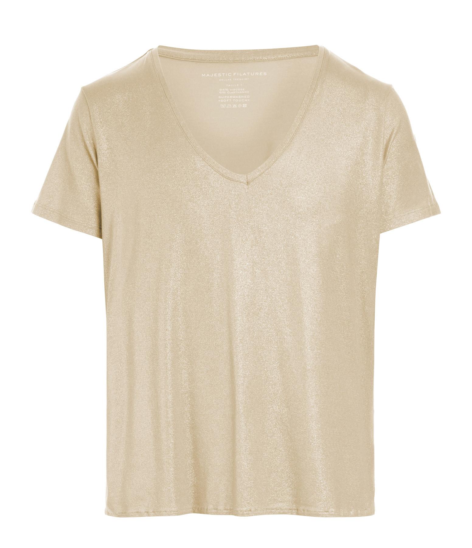 MAJESTIC FILATURES - Tee-shirt Col V Sable Doré