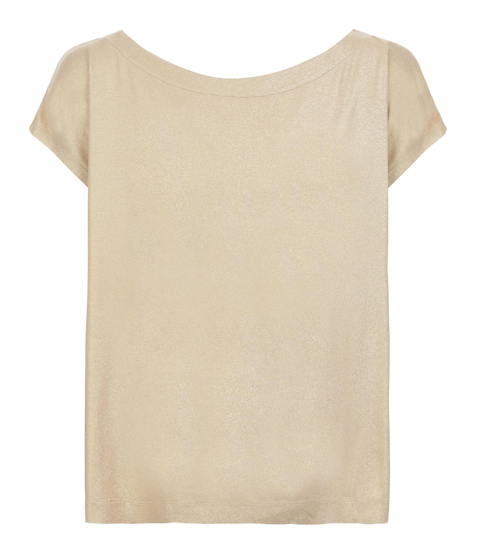 MAJESTIC FILATURES - Tee-shirt Col Bateau Sable Doré