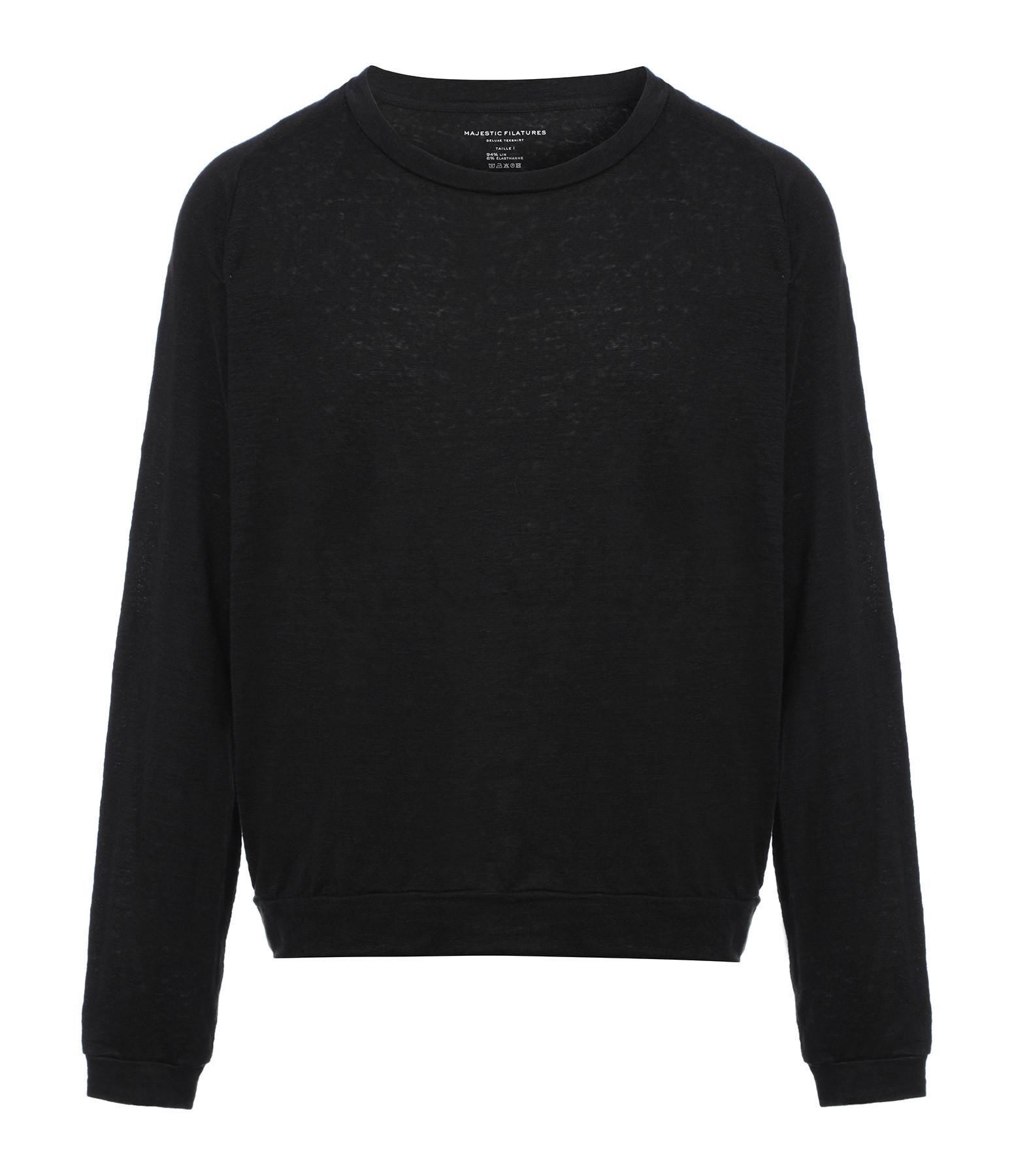 MAJESTIC FILATURES - Sweatshirt Manches Longues Lin Noir