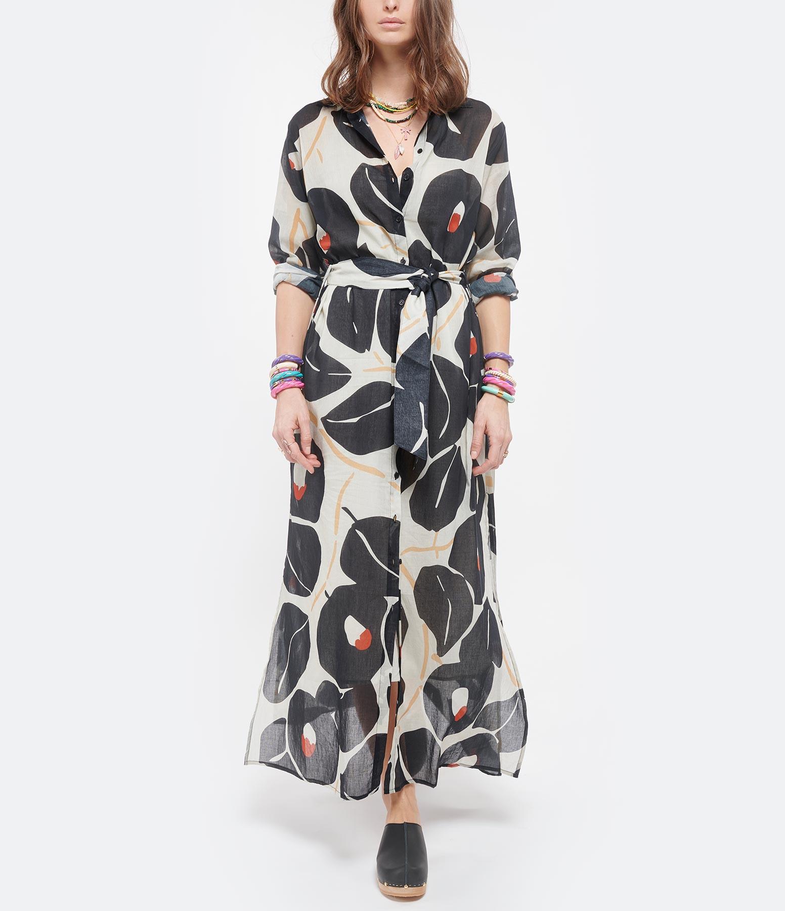 MARE DI LATTE - Robe Murano Coton Noir Imprimé Œillets