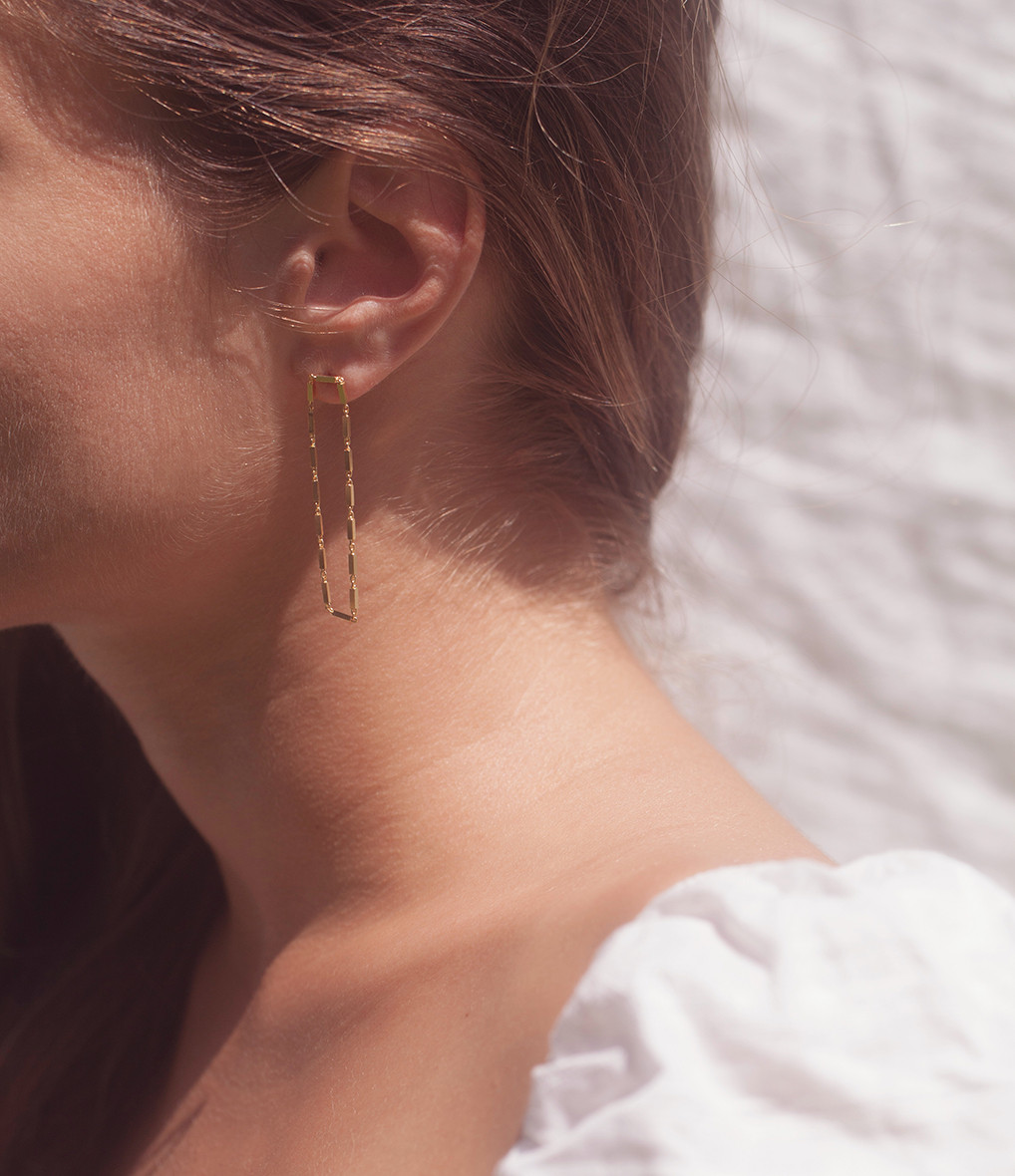 MAGGOOSH - Boucles d'oreilles Disco Double Short Plaqué Or