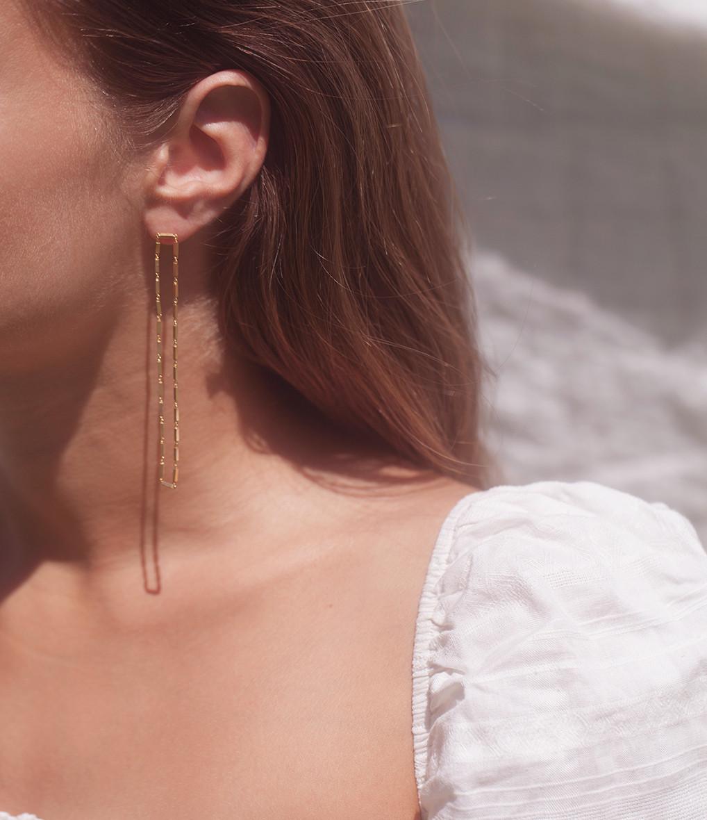 MAGGOOSH - Boucles d'oreilles Disco Double Long Plaqué Or