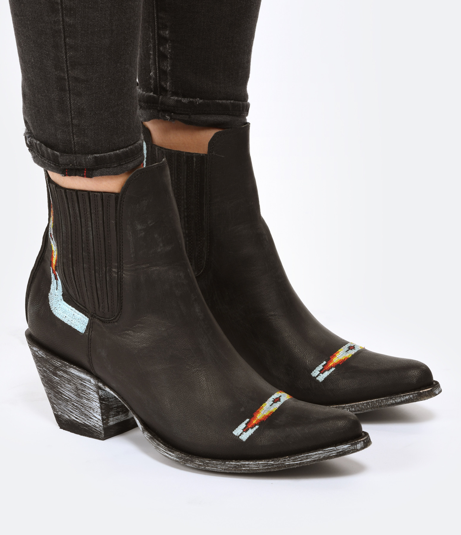 MEXICANA - Bottines Estudio Navajo Cruz Cuir Noir