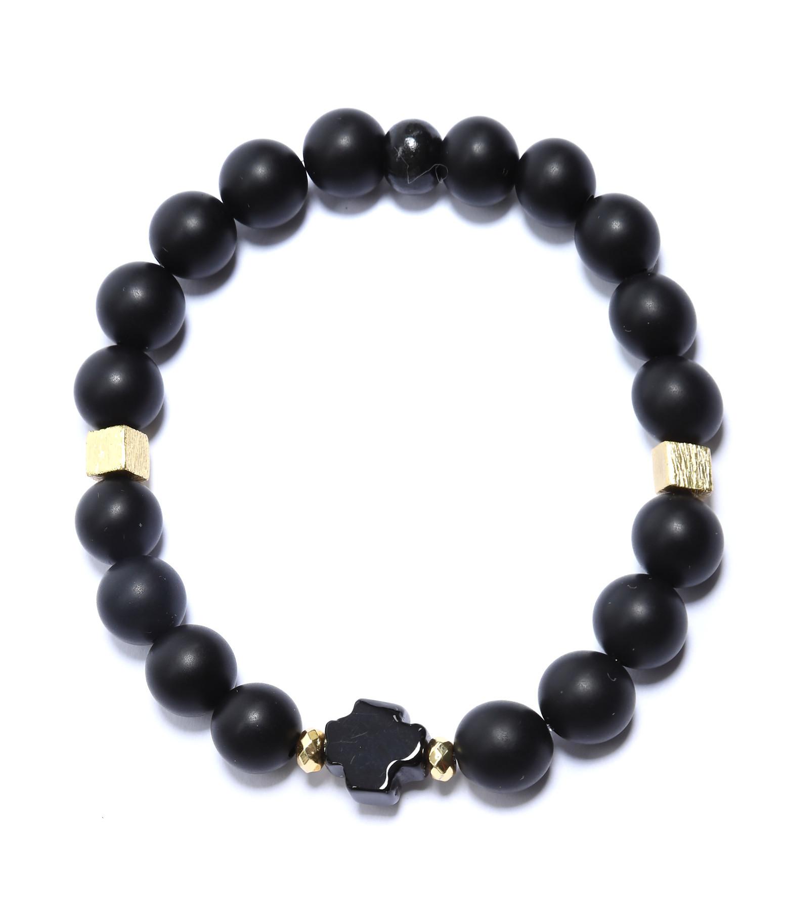 MI CIELO LONDON - Bracelet Onyx Mat Croix Agate Noire