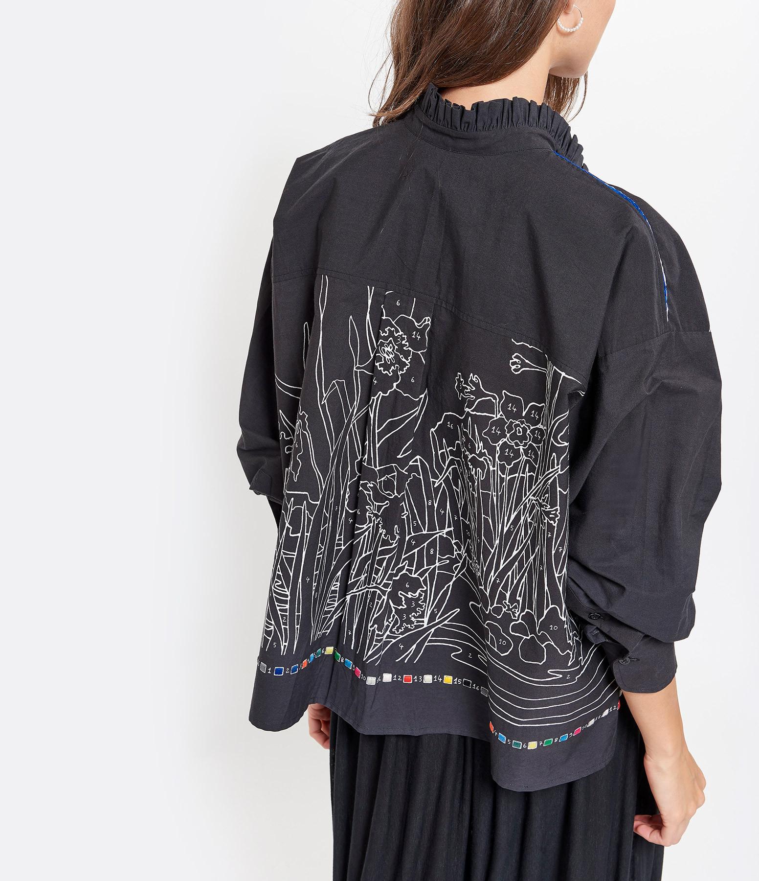 MII - Blouse Broderies Coton Noir
