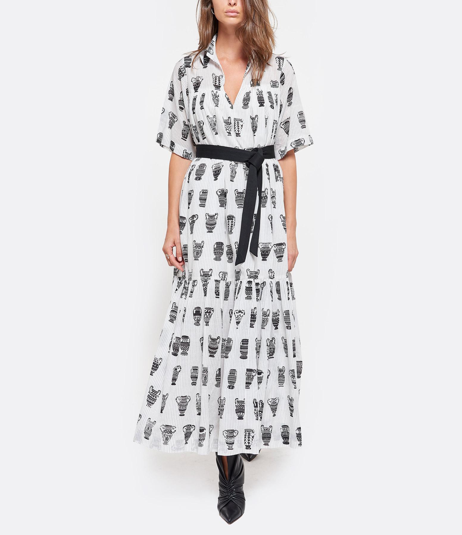 MII - Robe Tissée Coton Imprimé Noir