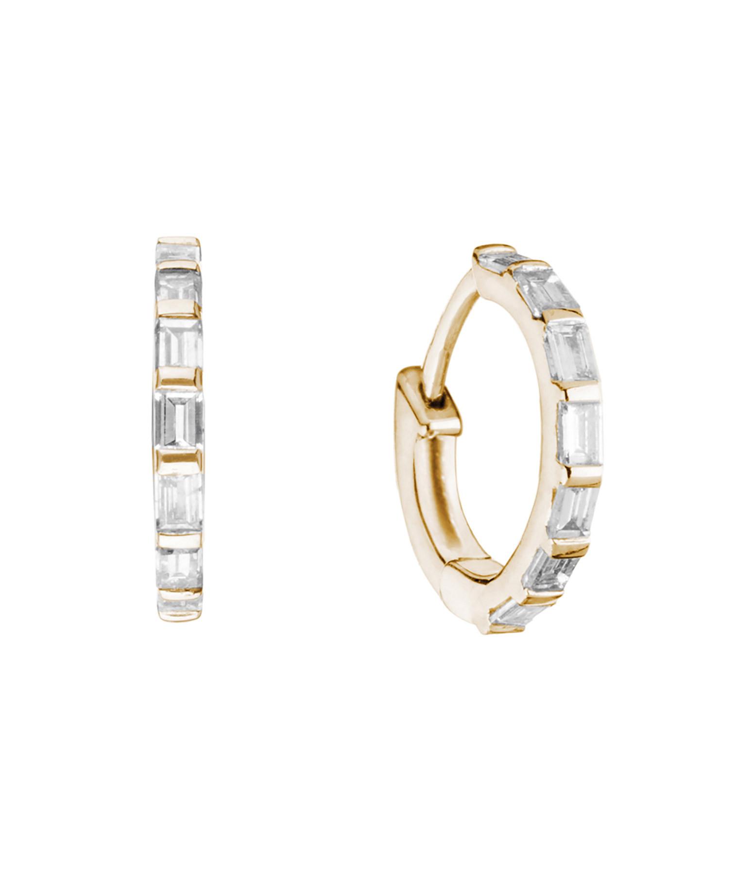 Mini Créole Baguette Or Diamants (vendue à l'unité) - STONE