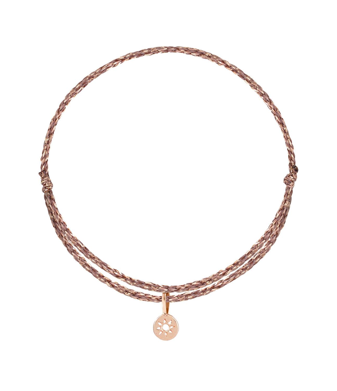 ORADENA - Bracelet Cordon 1 Médaille Or Soleil