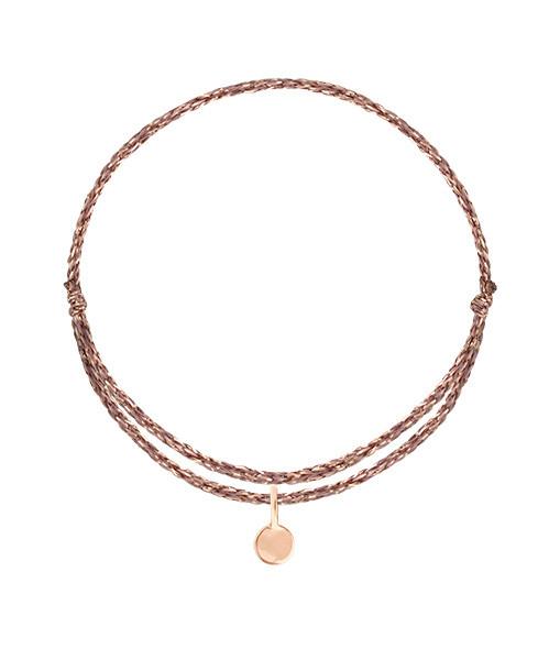 ORADENA - Bracelet Cordon 1 Médaille Or Nude