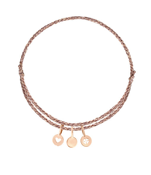 ORADENA - Bracelet Cordon 3 Médailles Or Coeur Nude Trèfle