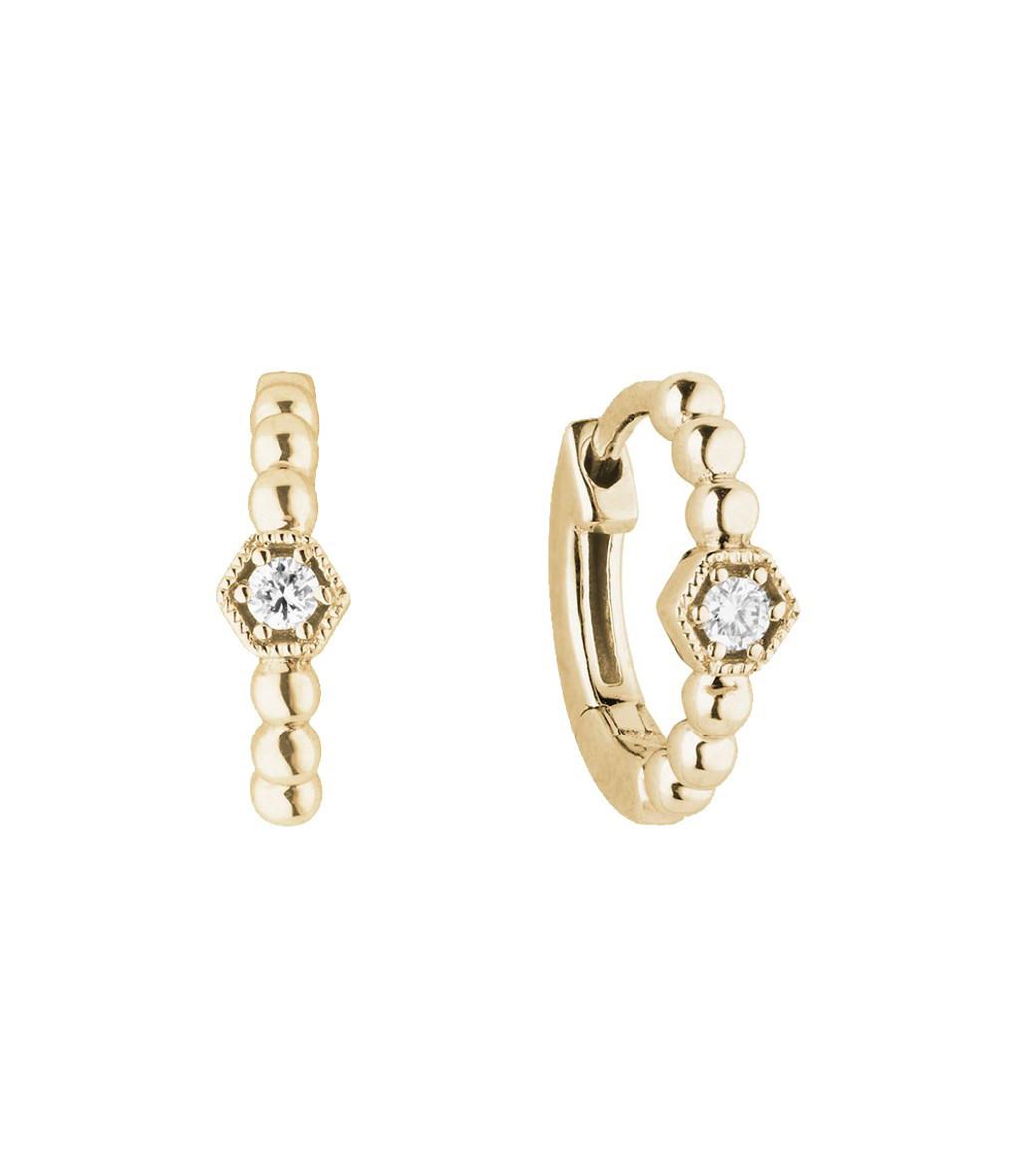 STONE PARIS - Mini Créole Charmante Or Diamants (vendue à l'unité)