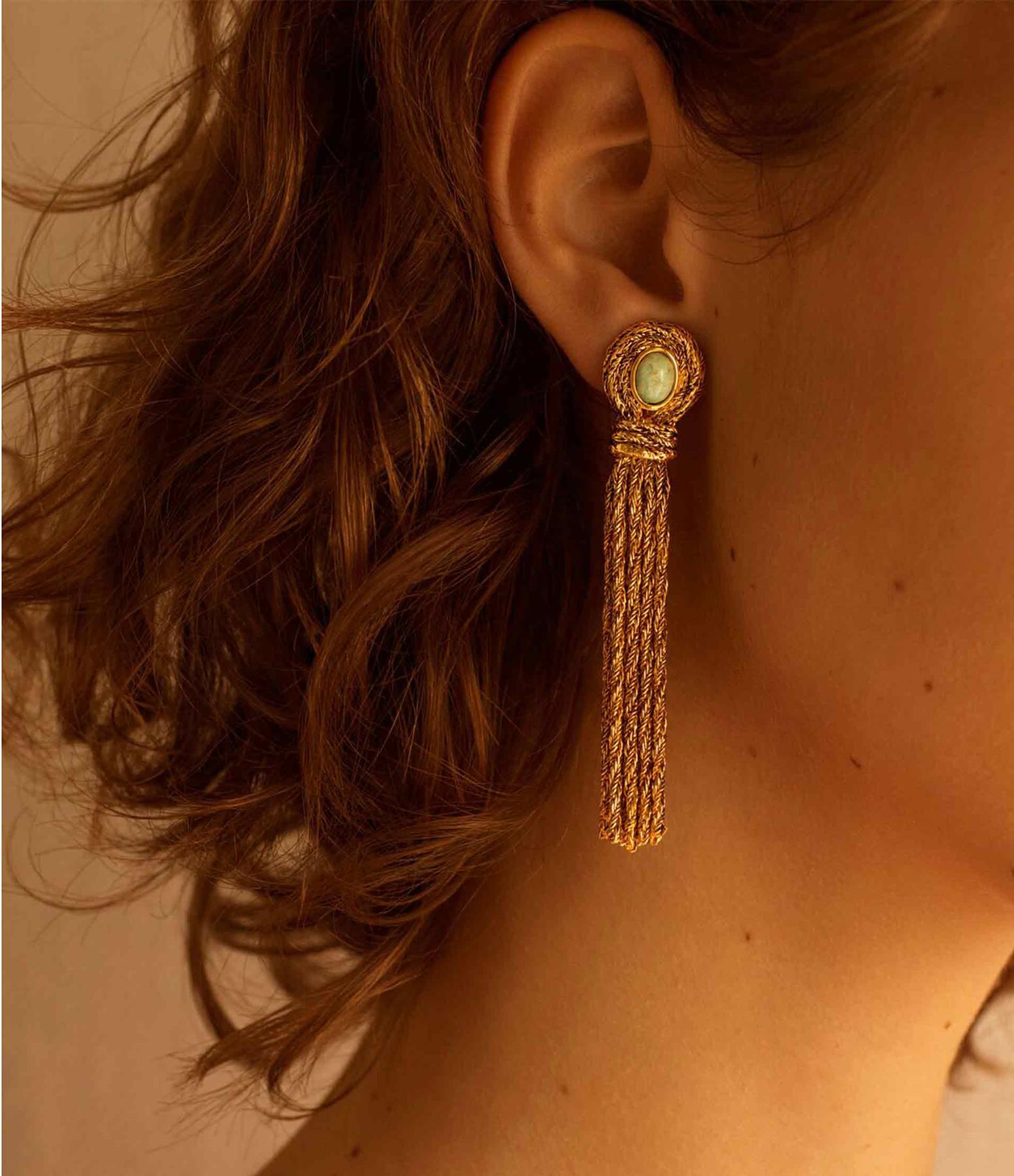 AURELIE BIDERMANN - Boucles d'oreilles Mizuhiki Amazonites
