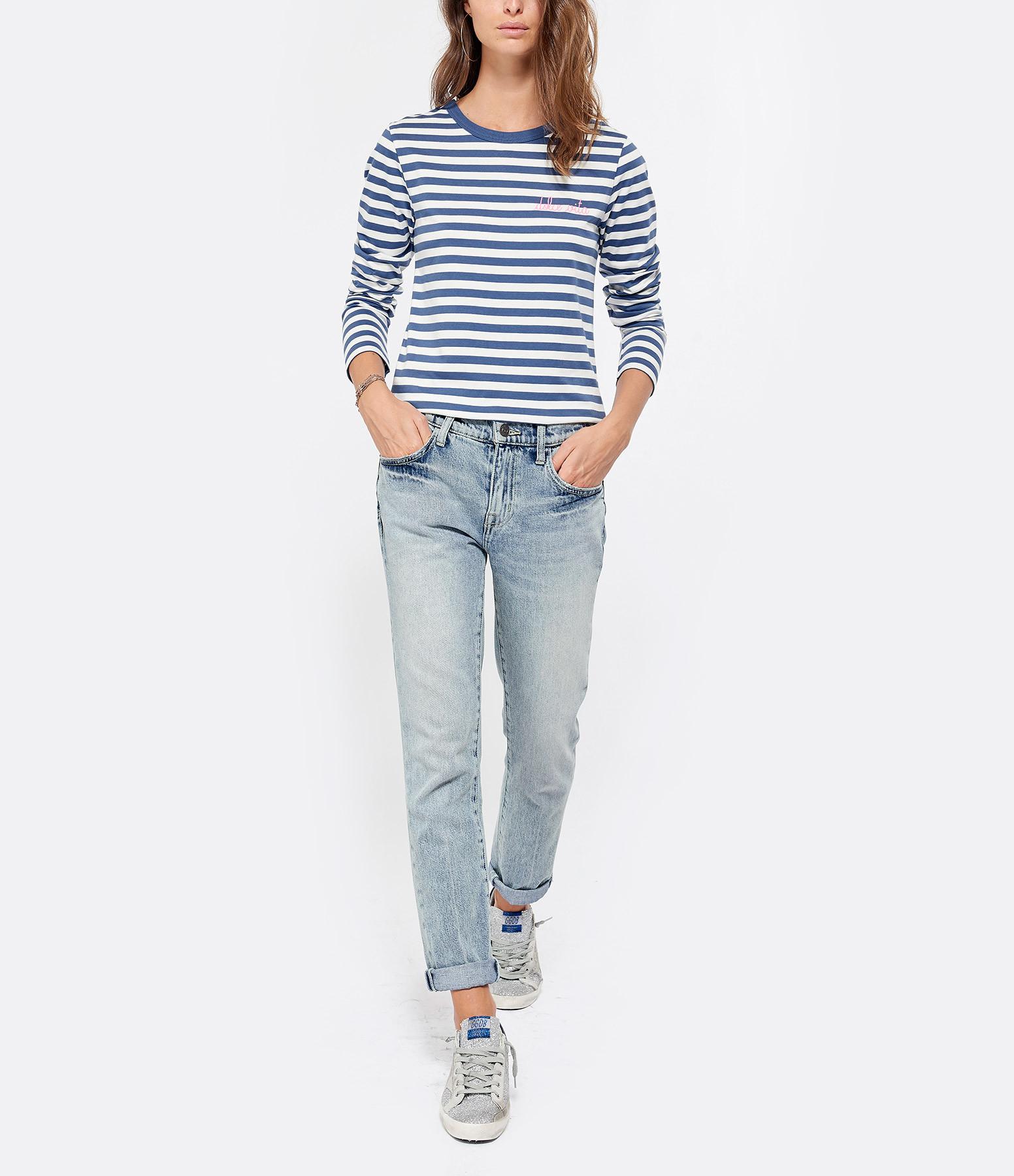 MAISON LABICHE - Tee-shirt Dolce Vita Rayure Navy Naturel Rose