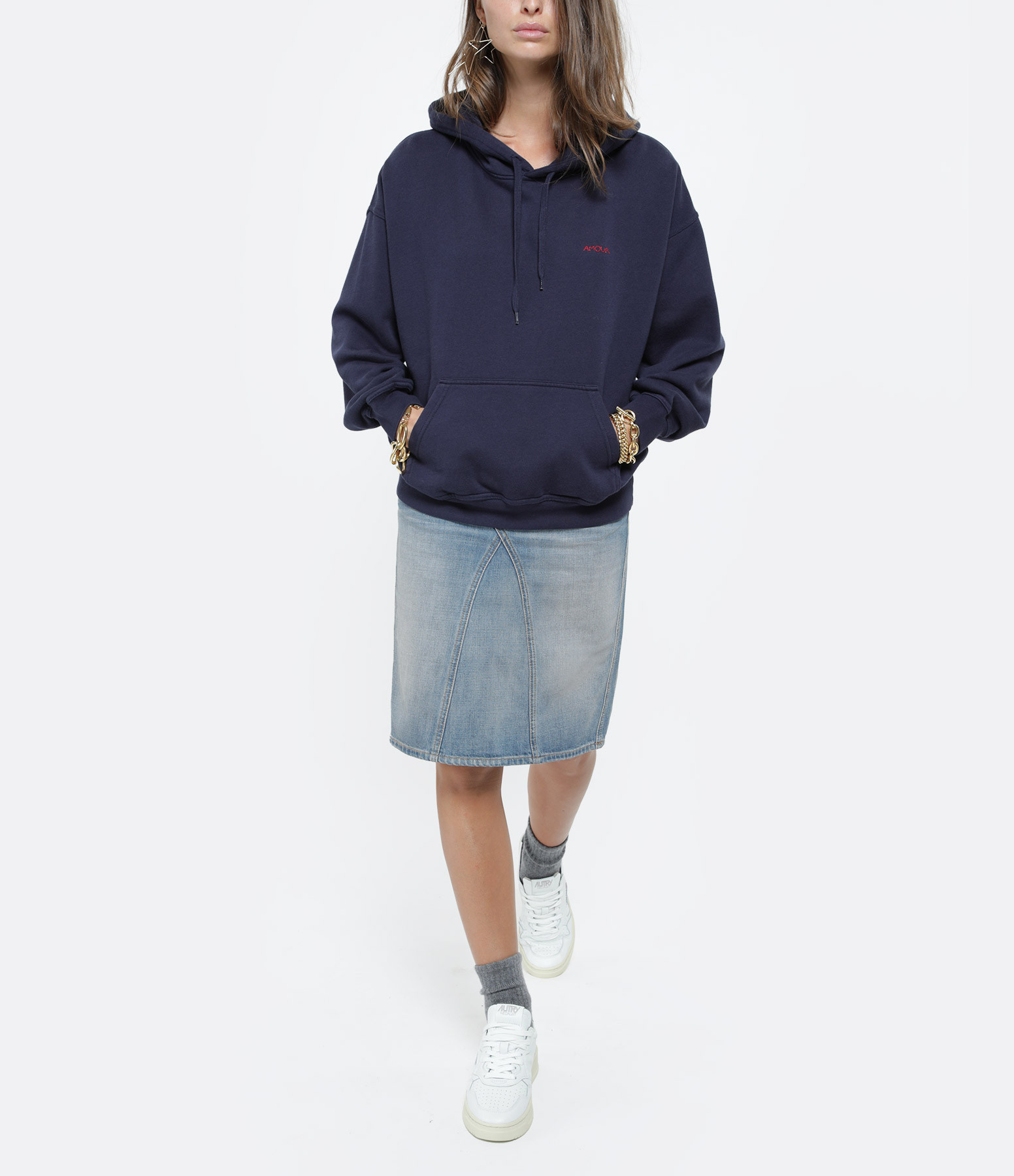 MAISON LABICHE - Sweatshirt Hoodie Amour Bleu Nuit