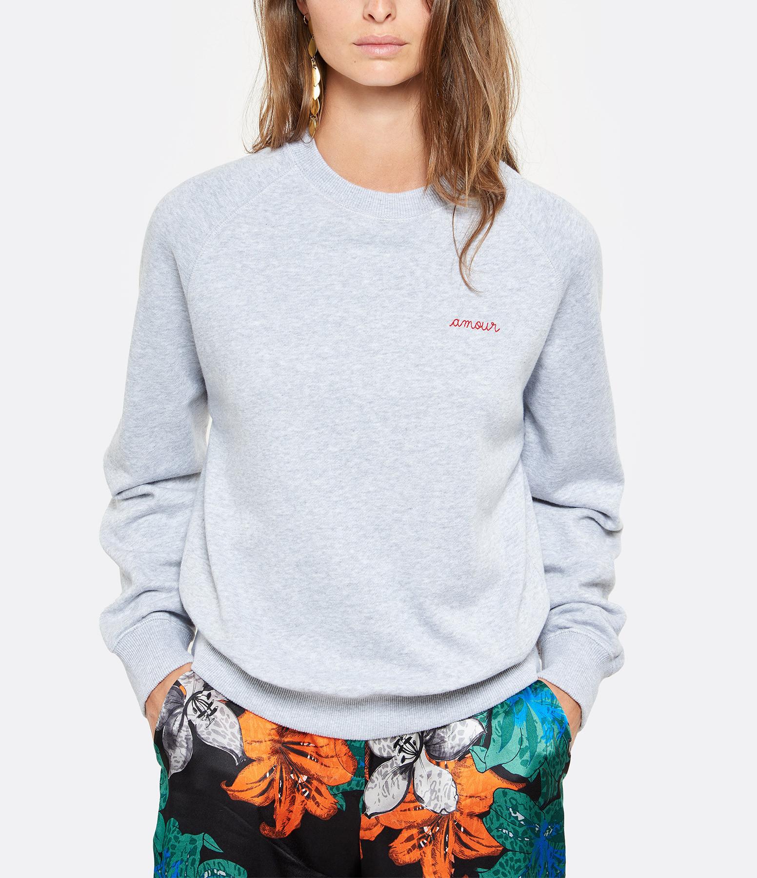 MAISON LABICHE - Sweatshirt Amour Gris Chiné Clair