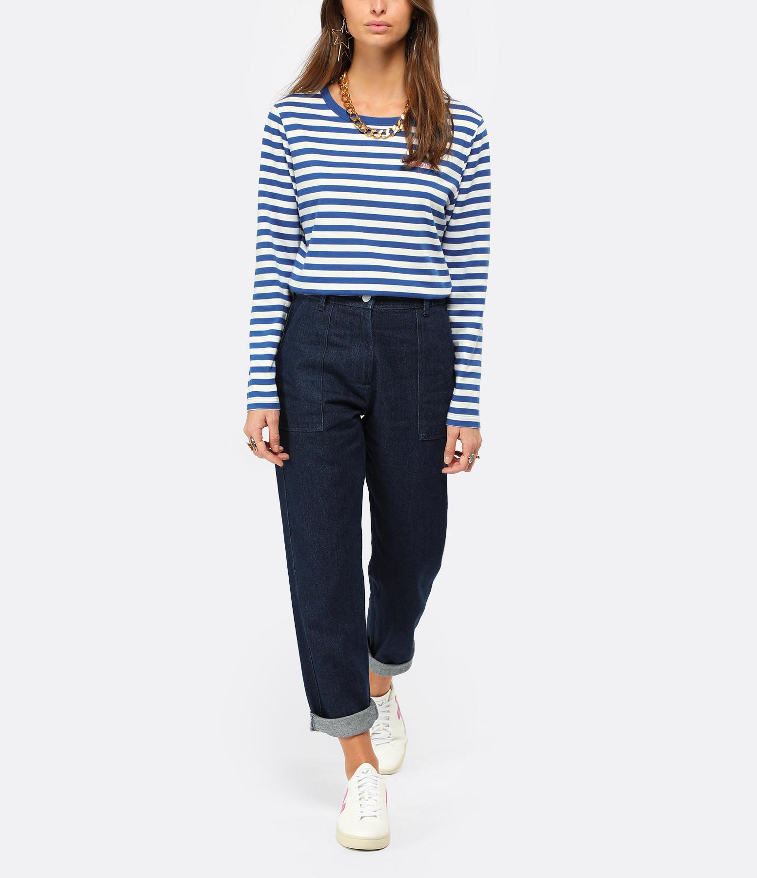 MAISON LABICHE - Tee-shirt Amour Rayures Bleu Blanc