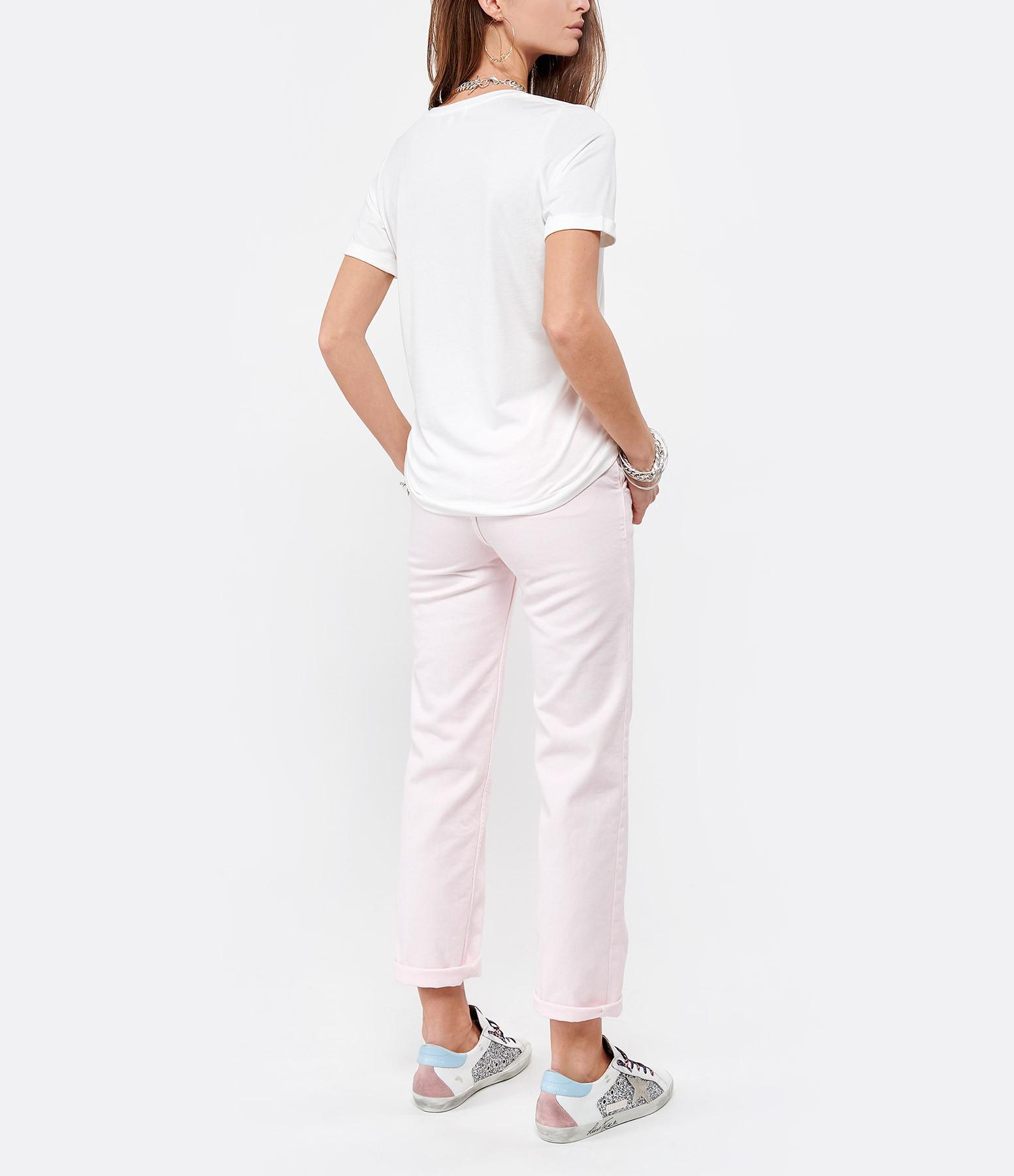 MAISON LABICHE - Tee-shirt Col V Cheers Coton Blanc