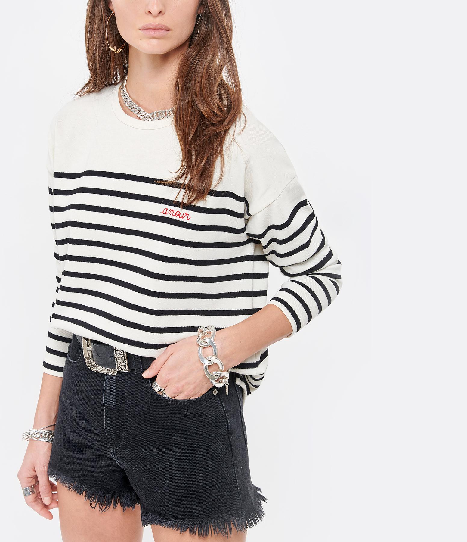 MAISON LABICHE - Tee-shirt Cool Sailor Amour Coton Bio Ivoire Noir