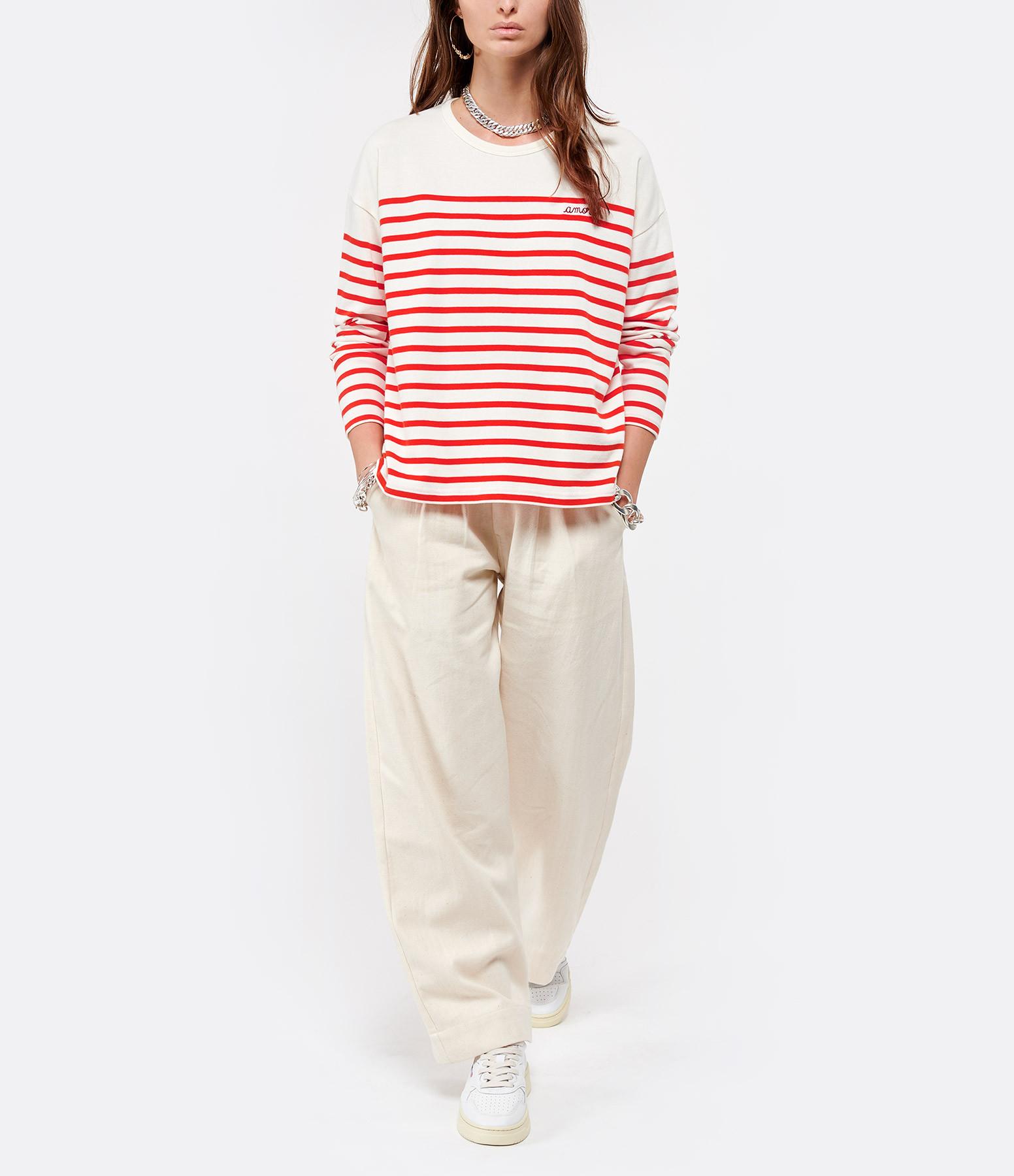 MAISON LABICHE - Tee-shirt Cool Sailor Amore Coton Rouge Ivoire