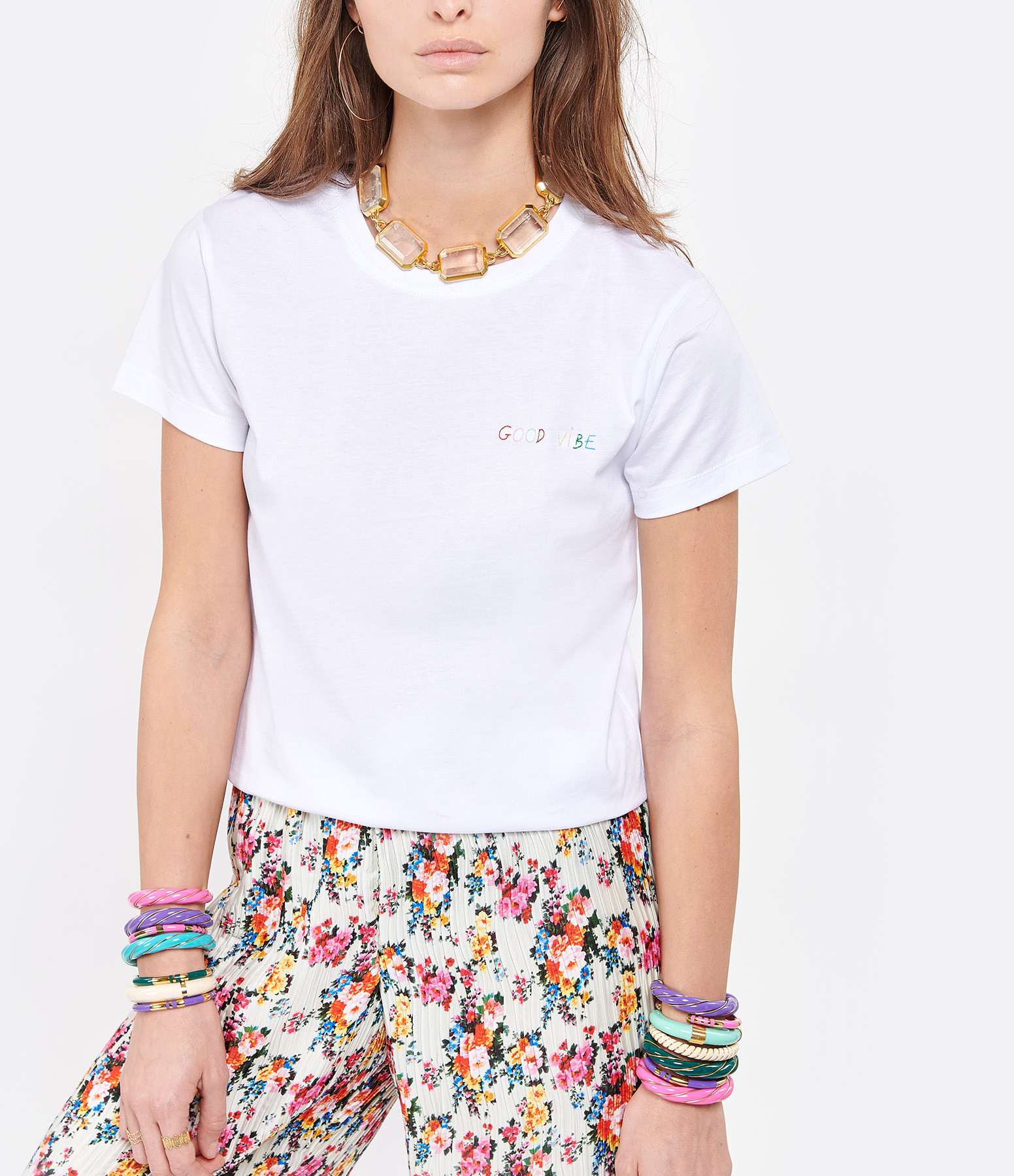 MAISON LABICHE - Tee-shirt Good Vibe Coton Biologique Blanc