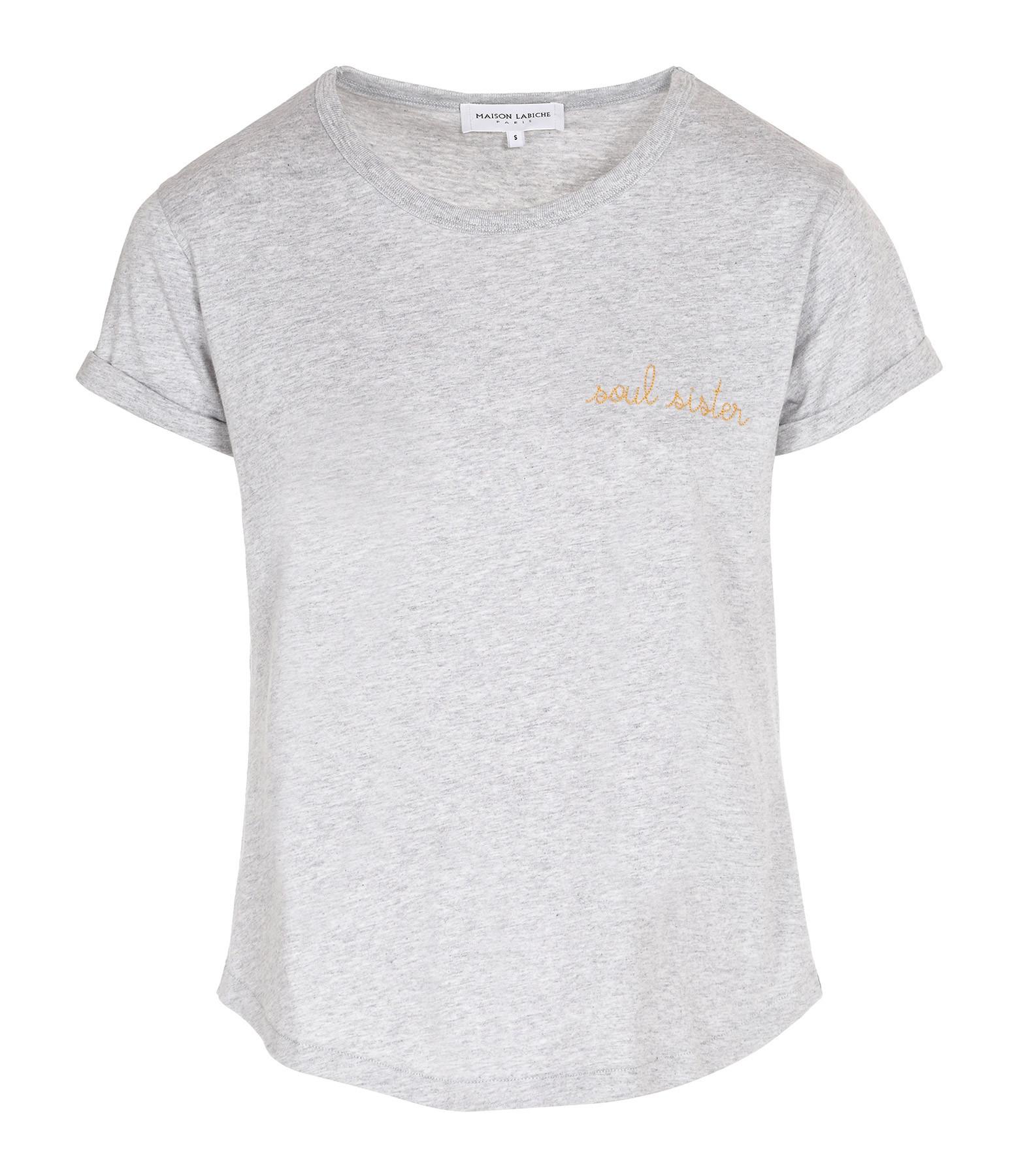 MAISON LABICHE - Tee-shirt Soulsister Gris Clair Chiné Doré